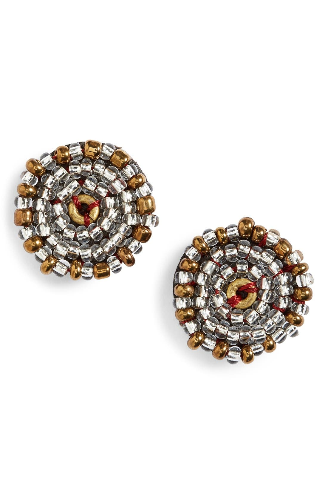Main Image - Me to We Artisans Beaded Leather Stud Earrings (Online Only)