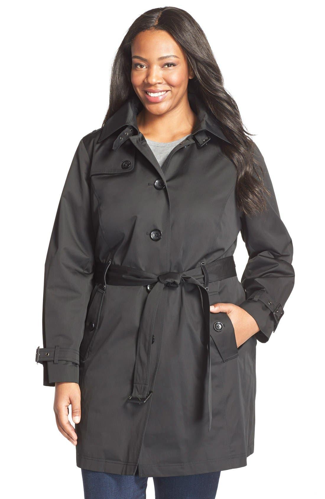 MICHAEL Michael Kors Single Breasted Raincoat (Plus Size)