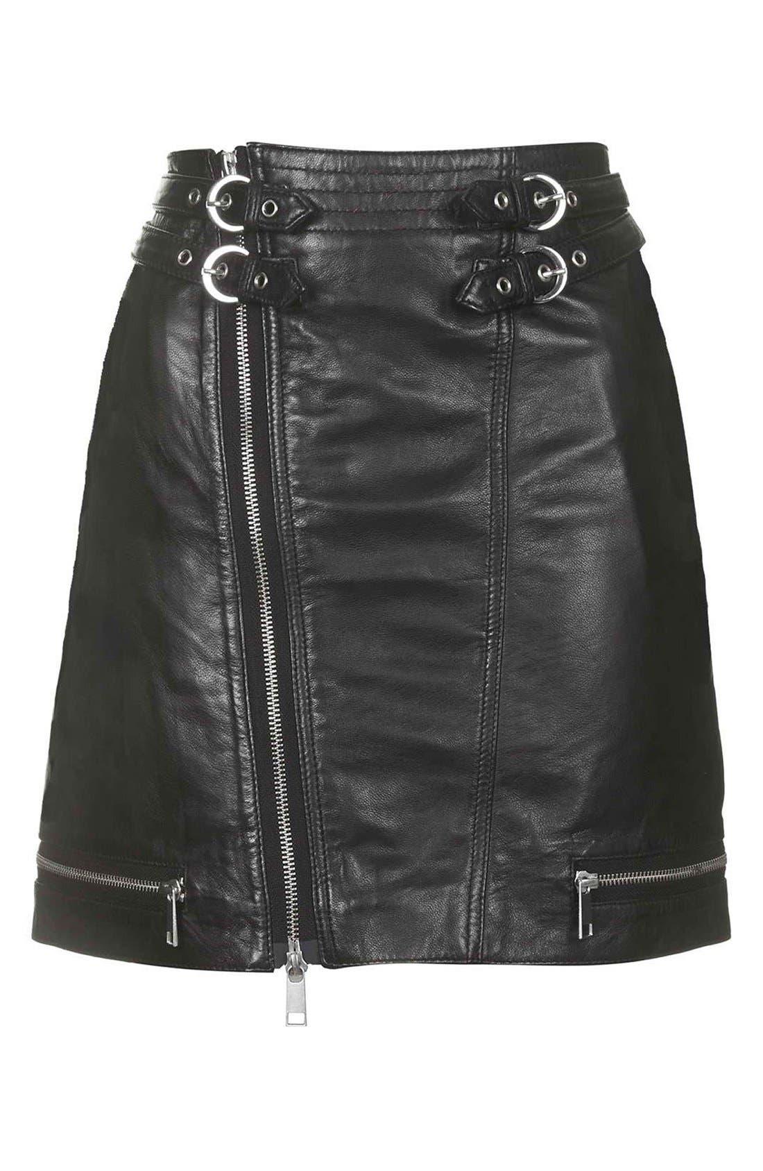 Alternate Image 4  - Topshop Zip Leather Miniskirt