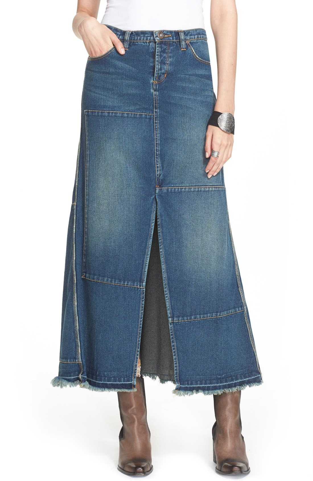 Alternate Image 1 Selected - Free People Patchwork Denim Maxi Skirt