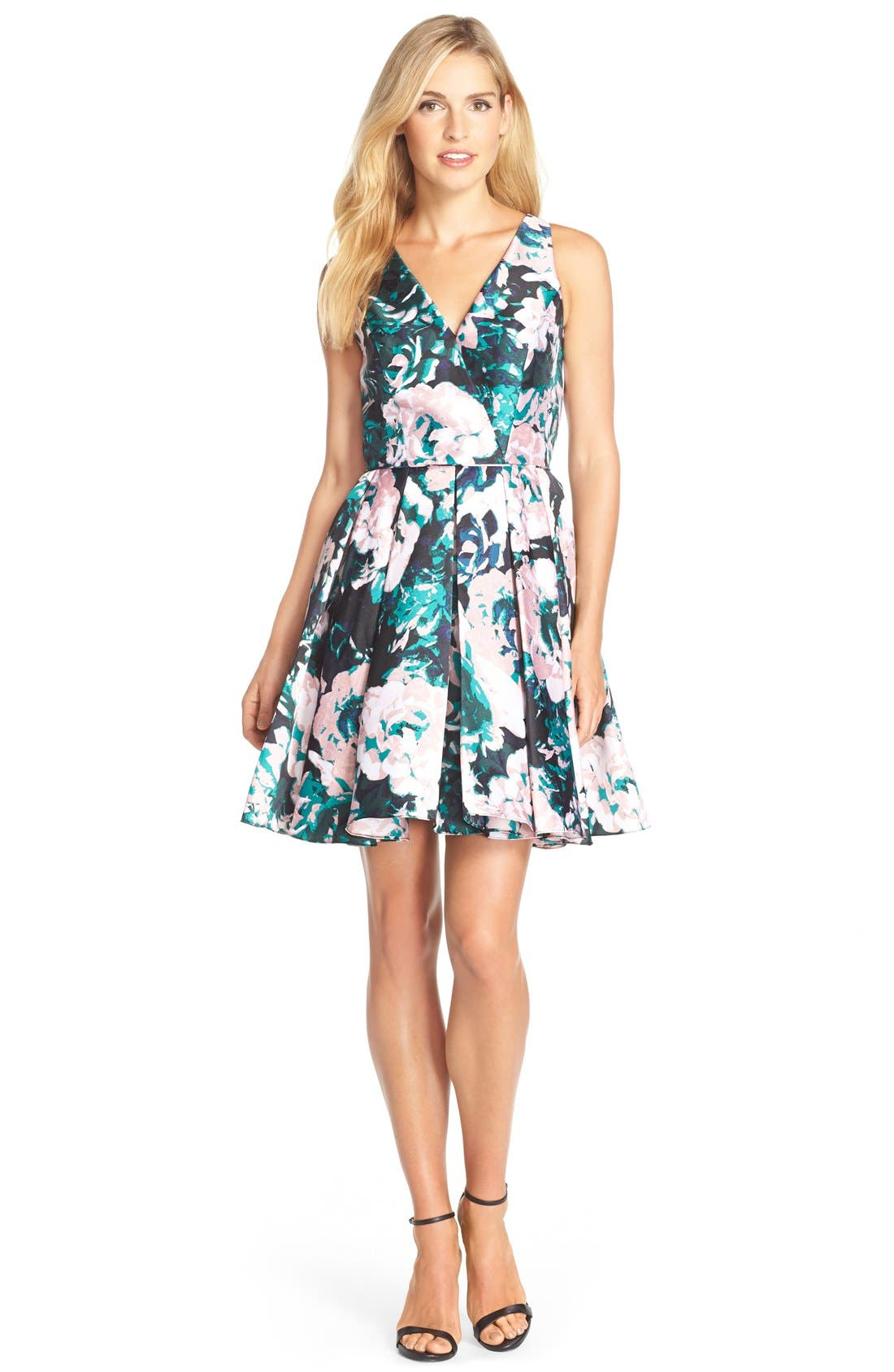 Alternate Image 3  - Adrianna Papell Floral Print Mikado Fit & Flare Dress