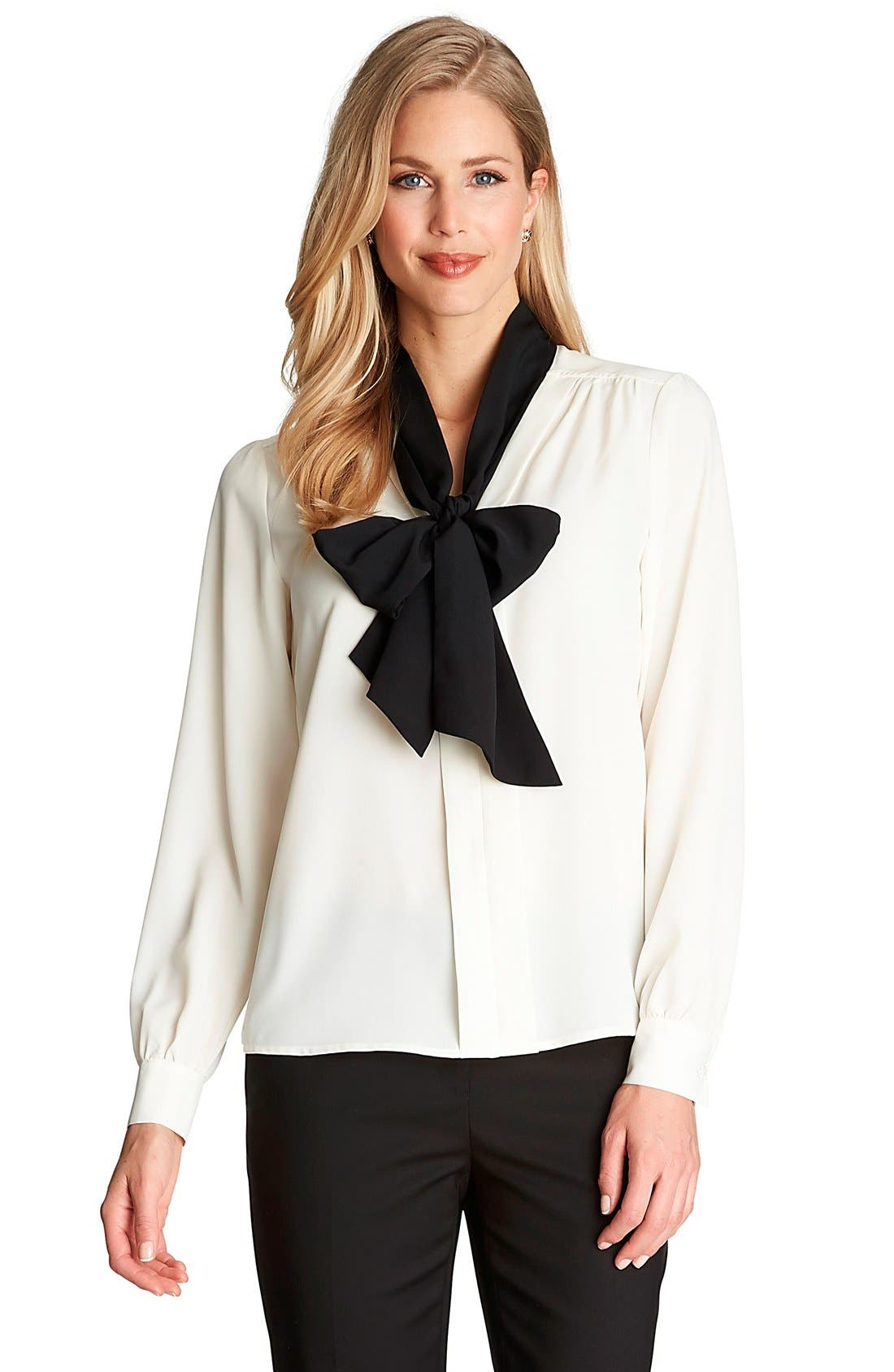 Alternate Image 1 Selected - CeCe by Cynthia Steffe Contrast Bow Neck Blouse