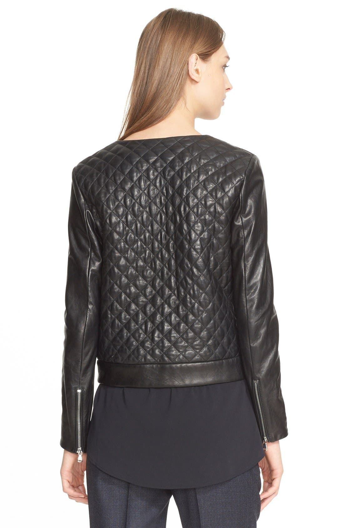 Alternate Image 2  - Eleventy Diamond Quilted Leather Jacket