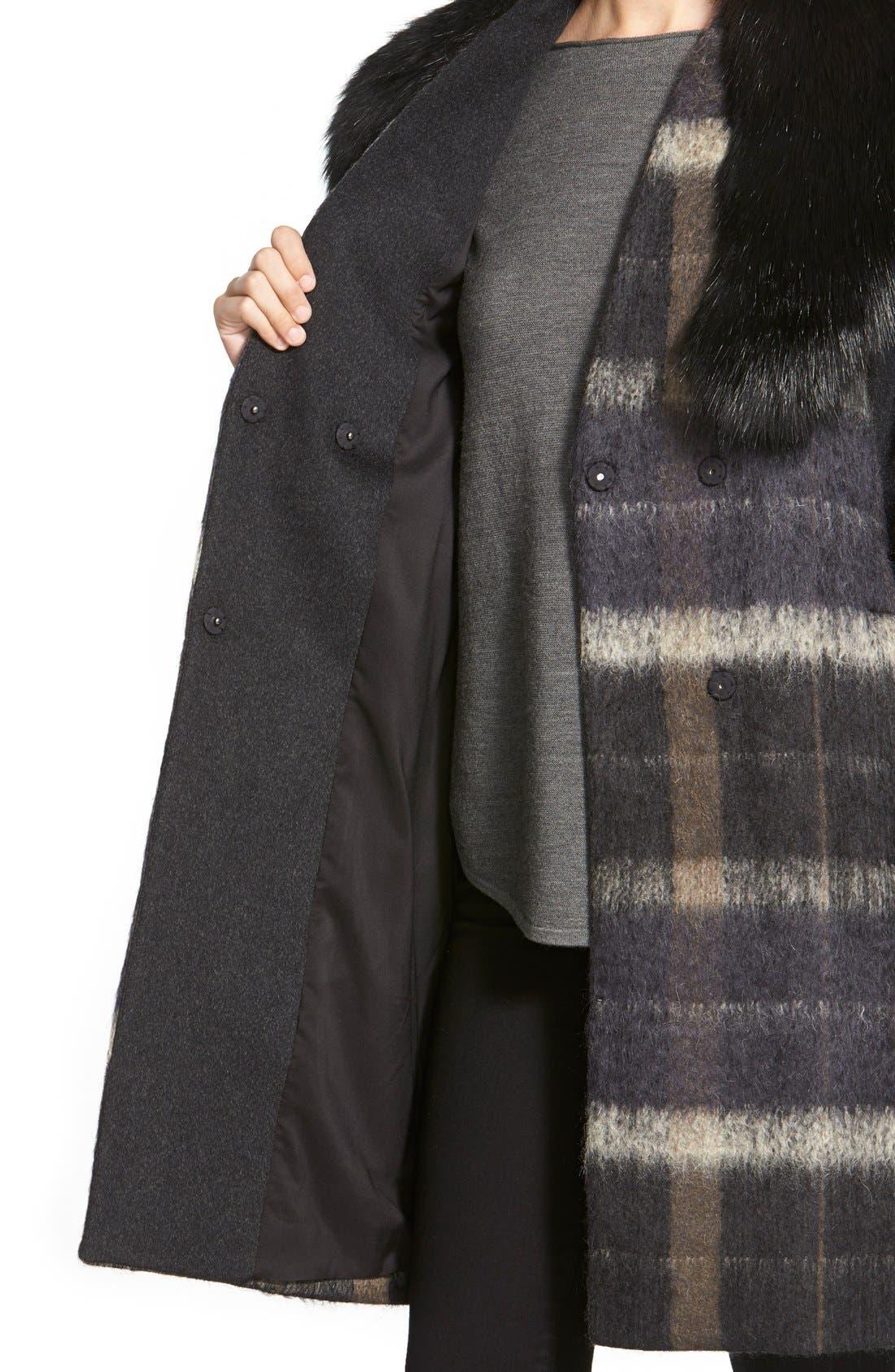 Alternate Image 5  - Vera Wang 'Sophie' Faux Fur Collar Mixed Media Coat