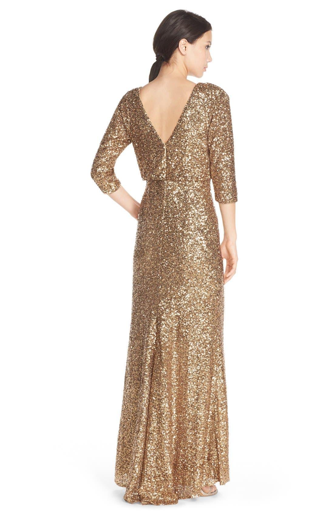 Alternate Image 2  - Badgley Mischka Sequin Blouson Gown