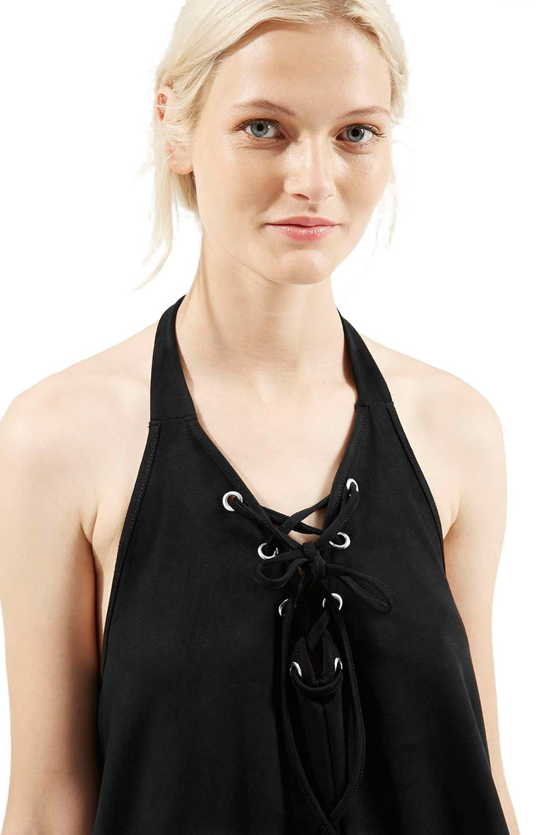 Alternate Image 5  - Topshop Faux Suede Lace Up Halter Dress