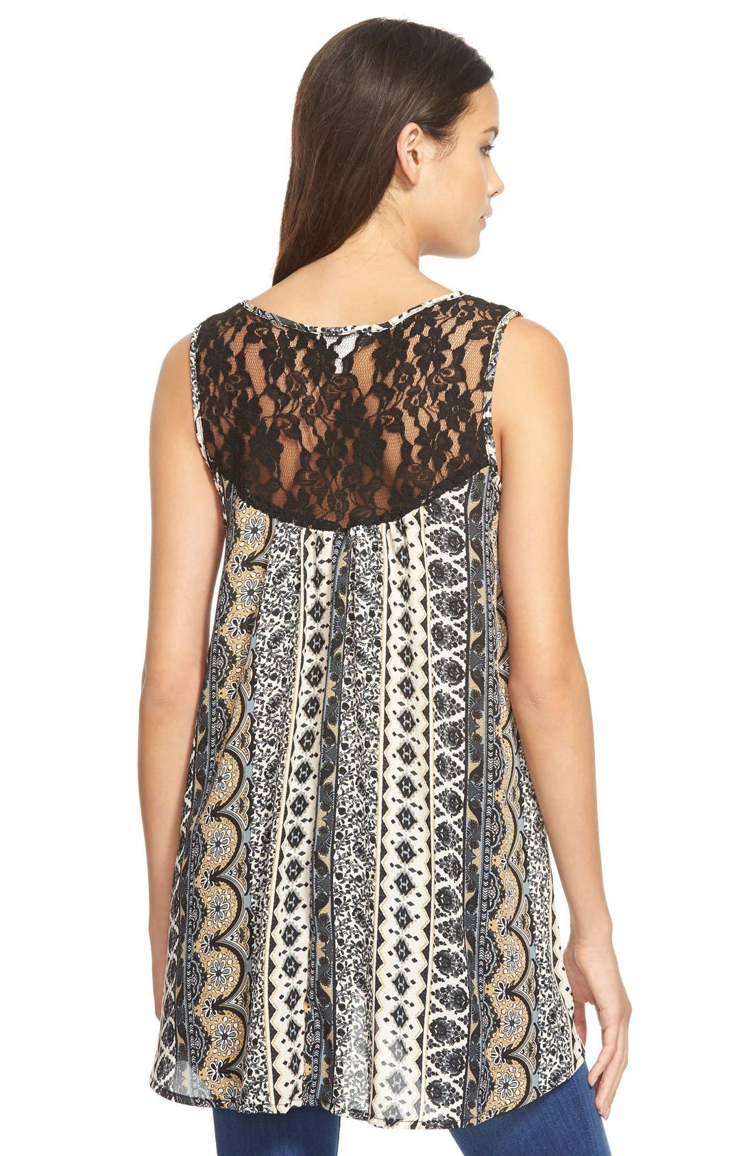 Alternate Image 2  - Sun & Shadow Lace Back Woven Print Top