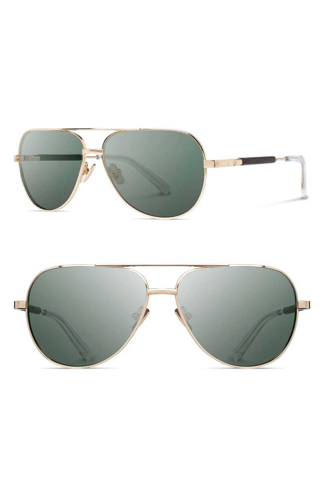 SHWOOD 'Redmond' 58mm Titanium & Wood Sunglasses