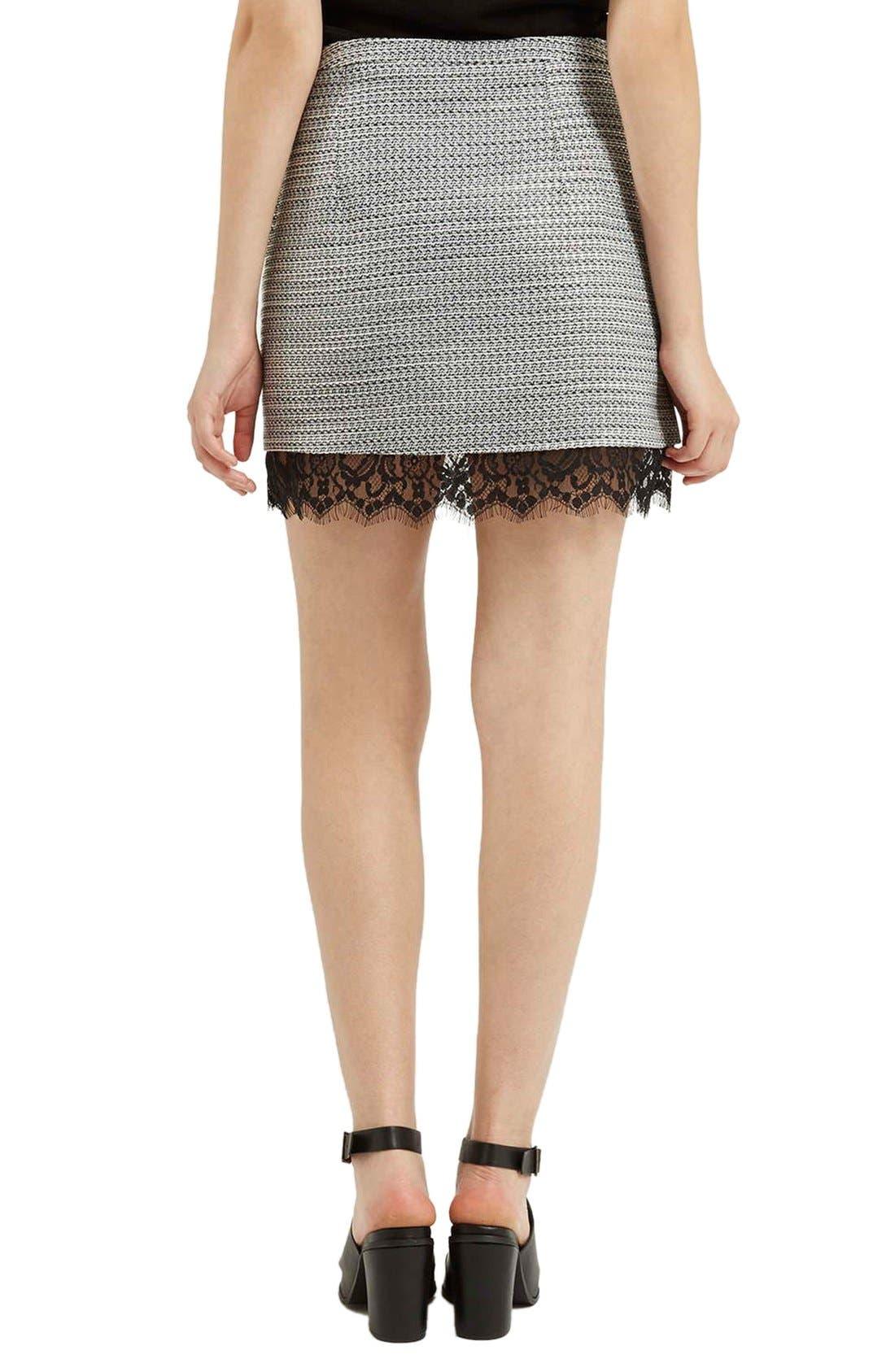 Alternate Image 3  - Topshop Lace Hem Bouclé A-Line Skirt