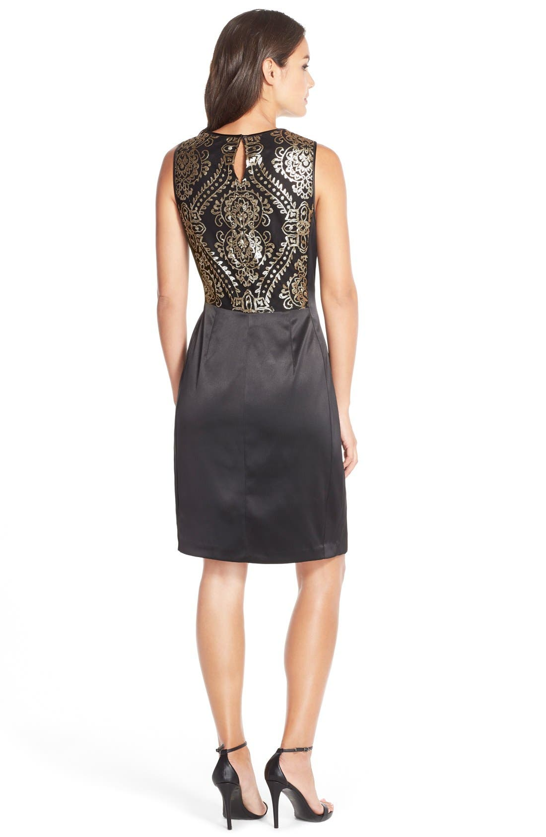 Alternate Image 2  - Donna Ricco'Medallion' Sequin Satin Sheath Dress