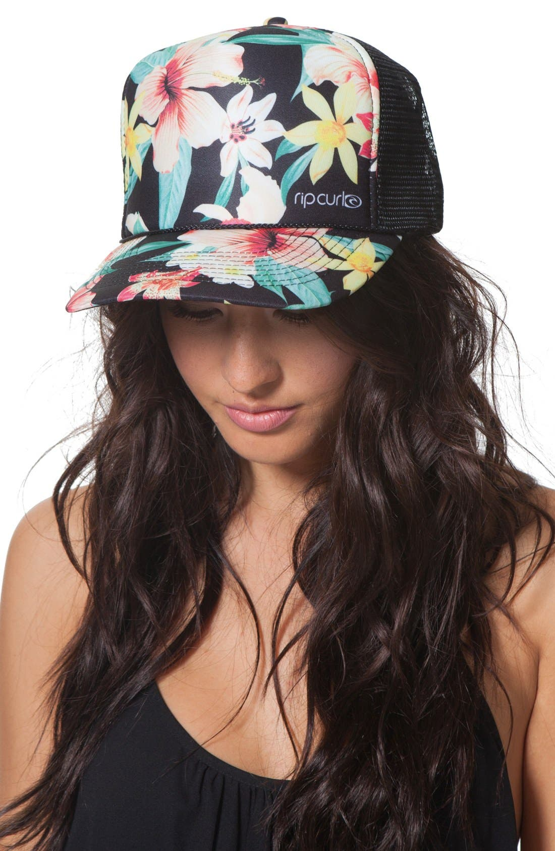Alternate Image 1 Selected - Rip Curl 'Tropic Wind' Floral Print Trucker Hat
