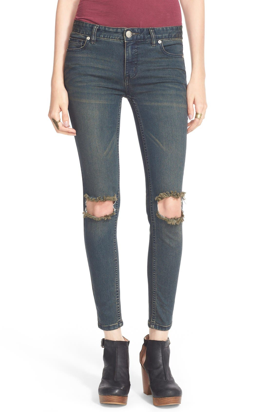 Alternate Image 1 Selected - Free People Destroyed Skinny Jeans