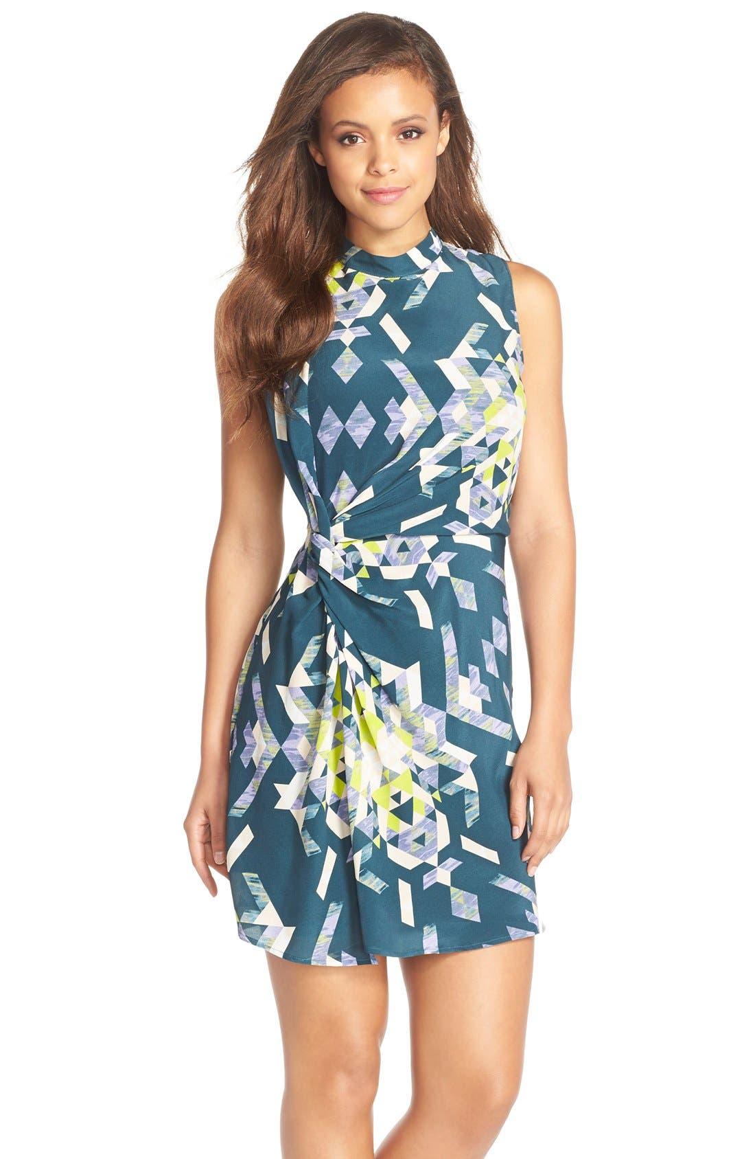 Main Image - Charlie Jade Print DrapedSilk Sheath Dress