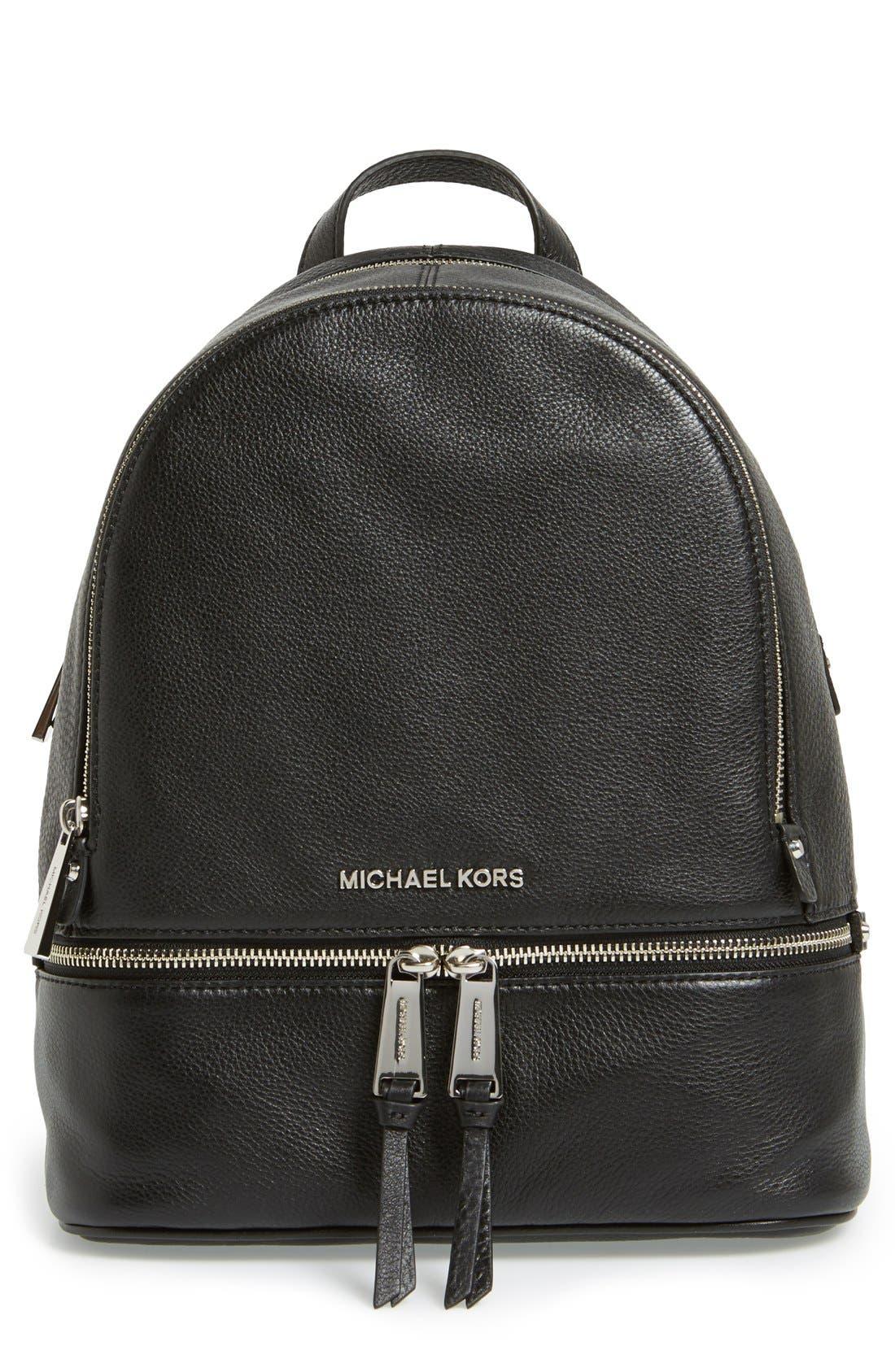Alternate Image 1 Selected - MICHAEL Michael Kors 'Small Rhea Zip' Leather Backpack
