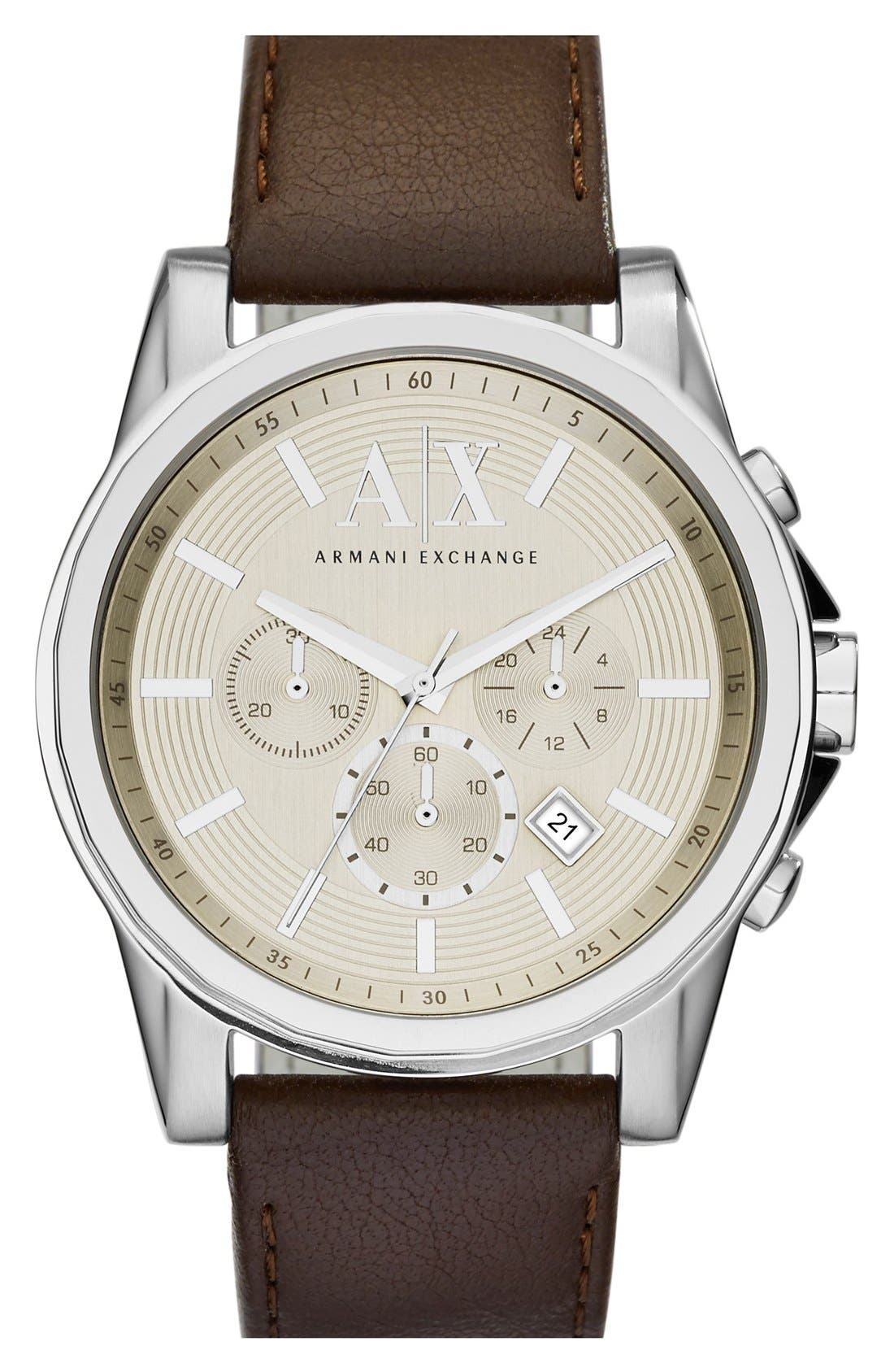 AX Armani Exchange Chronograph Leather Strap Watch, 45mm