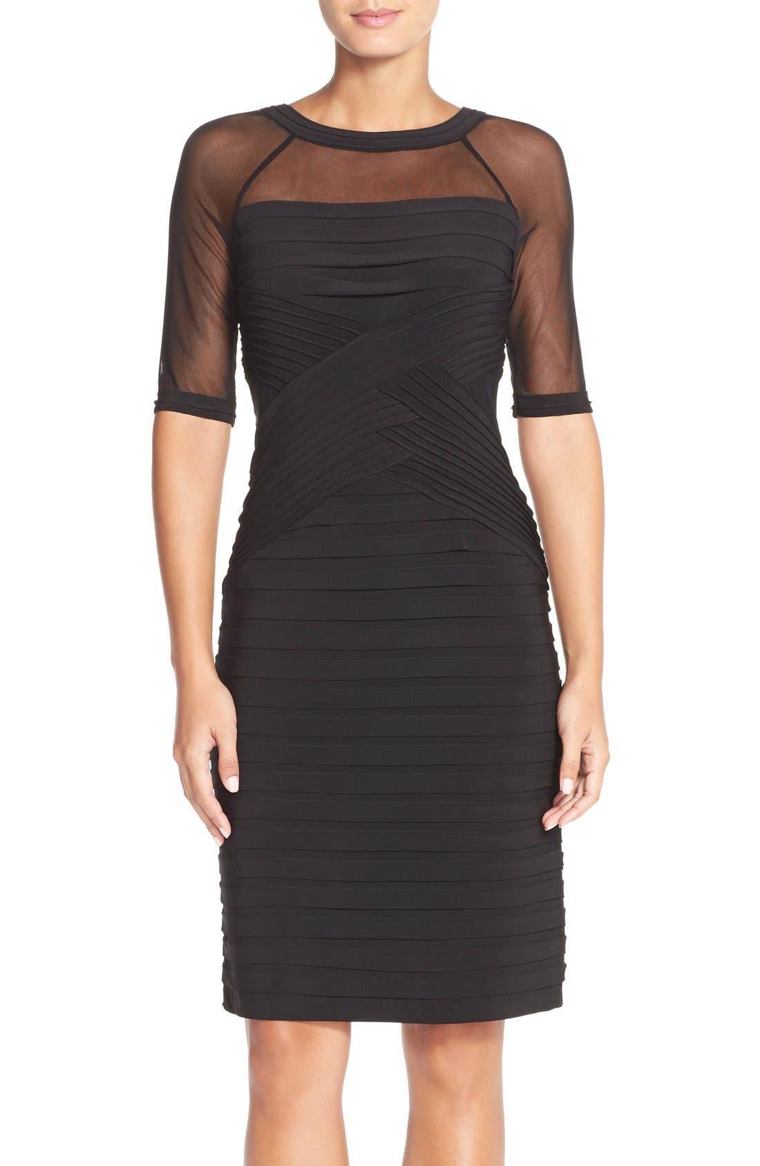 Main Image - Adrianna PapellIllusion Pleated Jersey Shift Dress