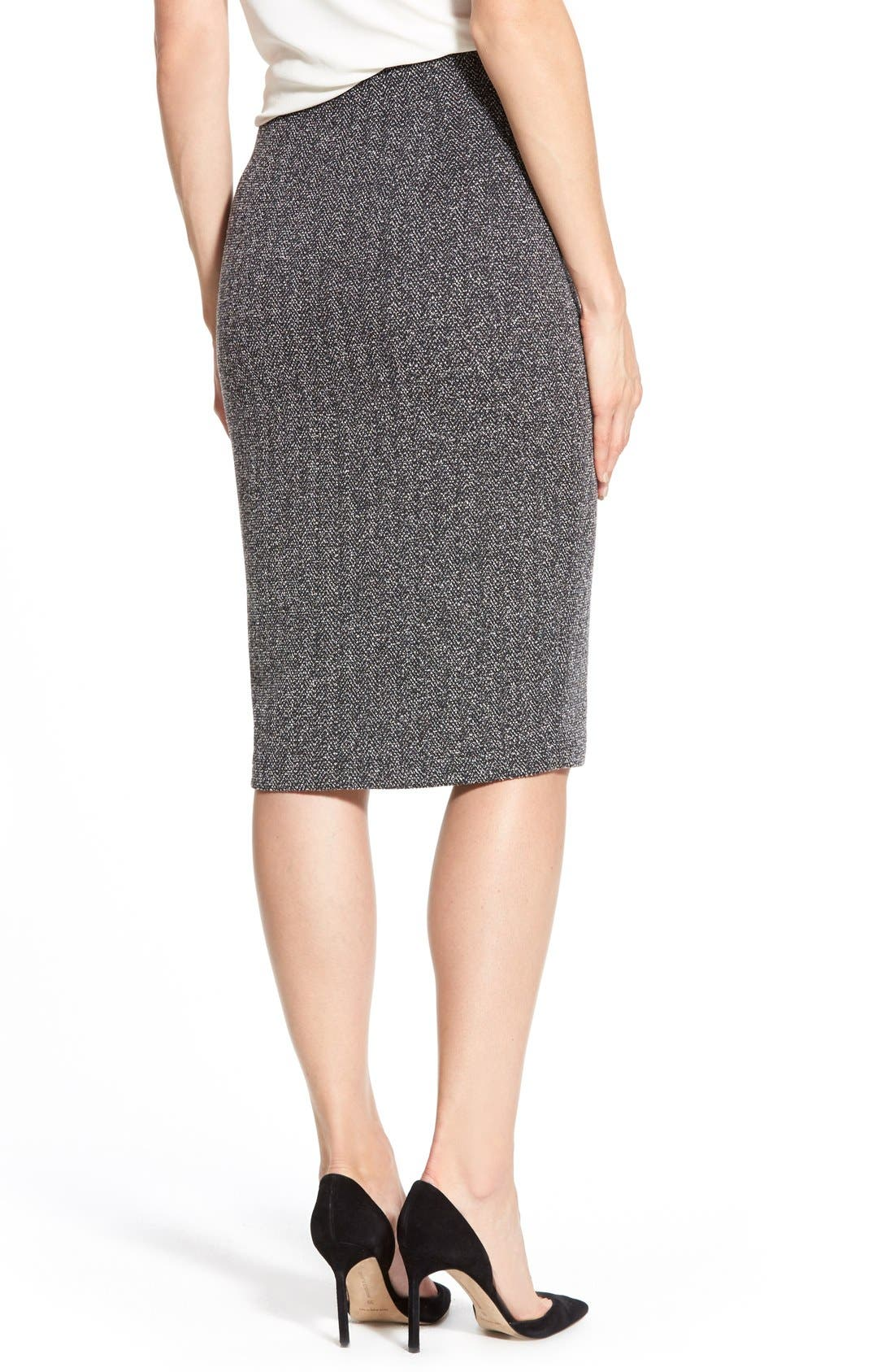 Alternate Image 2  - Halogen® Zip Front Stretch Knit Pencil Skirt (Regular & Petite)