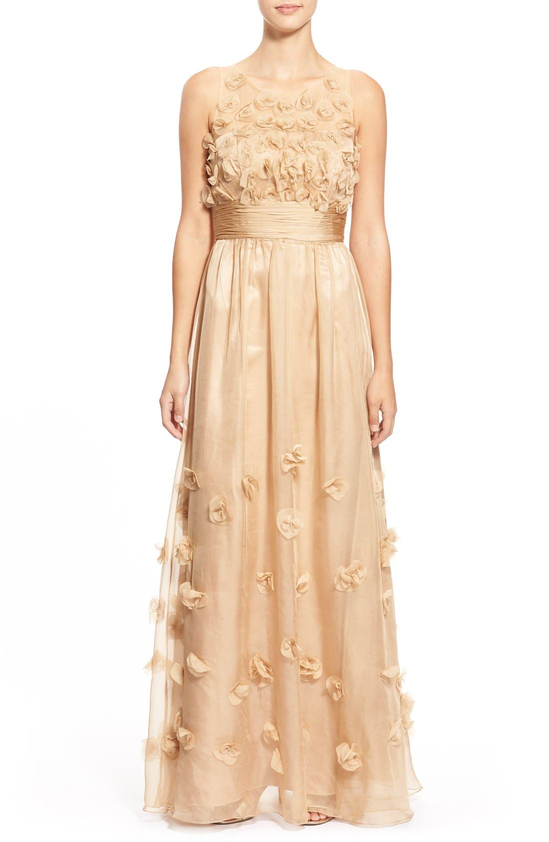 Main Image - JS Collections Floral Appliqué Chiffon Gown