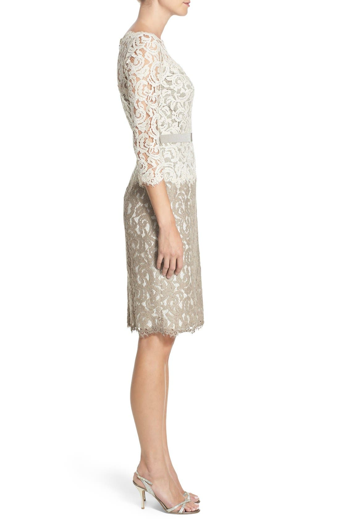 Alternate Image 3  - Tadashi Shoji Two-Tone Lace Sheath Dress (Regular & Petite)