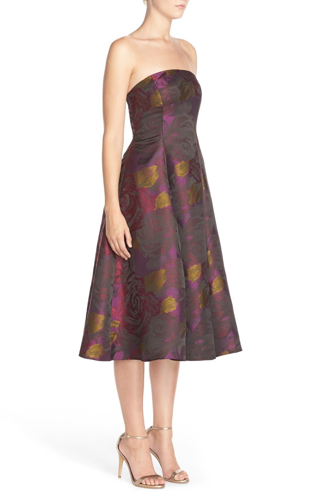 Alternate Image 3  - Adrianna Papell Jacquard Tea Length Fit & Flare Dress