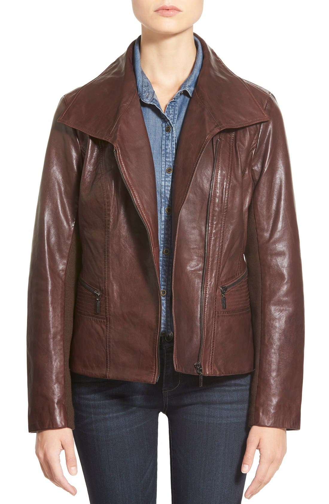 BERNARDO Wing Collar Leather Moto Jacket