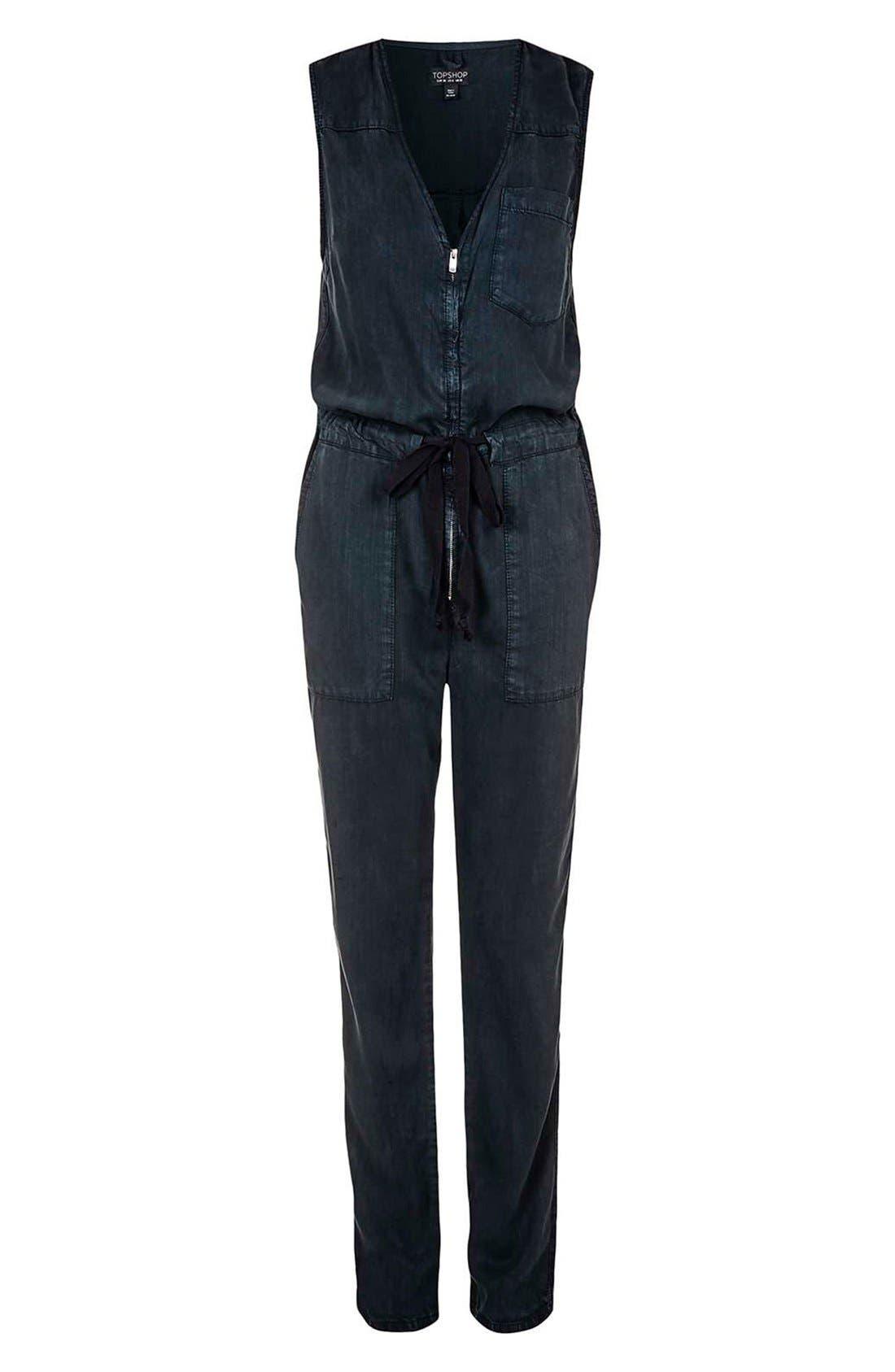 Alternate Image 4  - Topshop Sleeveless Zip Front Jumpsuit