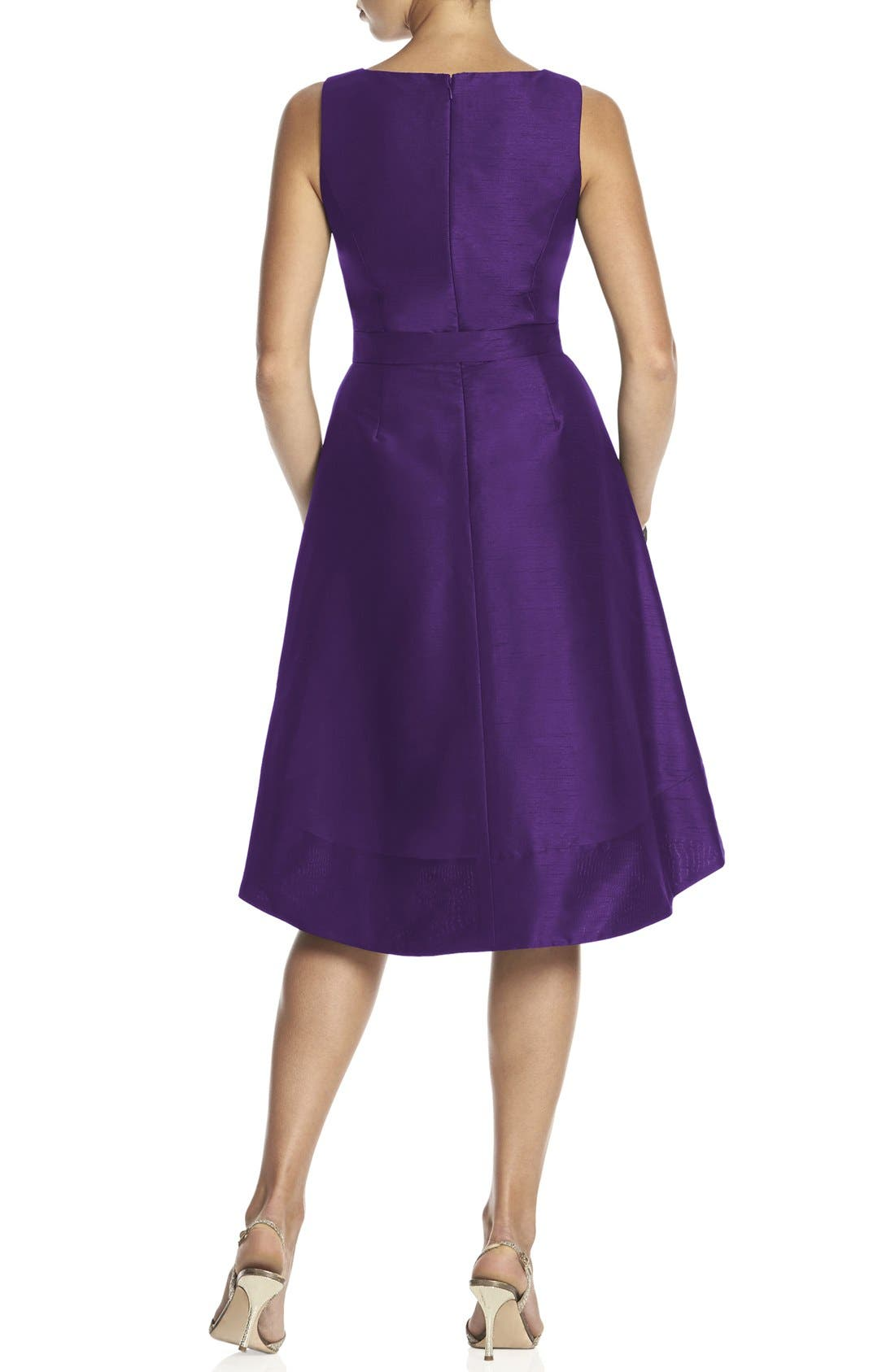 Alternate Image 2  - Alfred Sung Satin High/Low Fit & Flare Dress (Online Only)