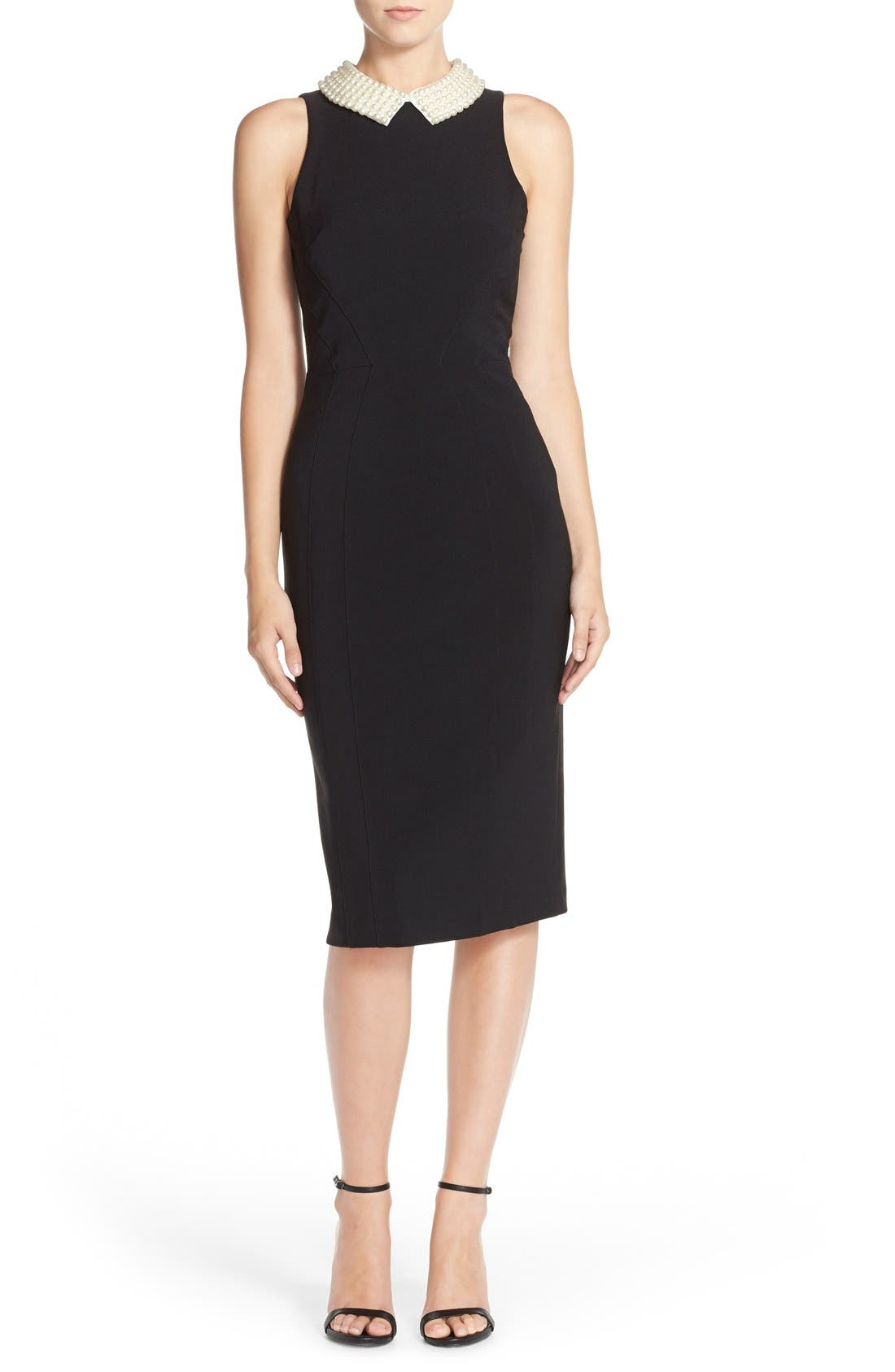 Main Image - Maggy London Pearl Collar Crepe Sheath Dress (Petite)