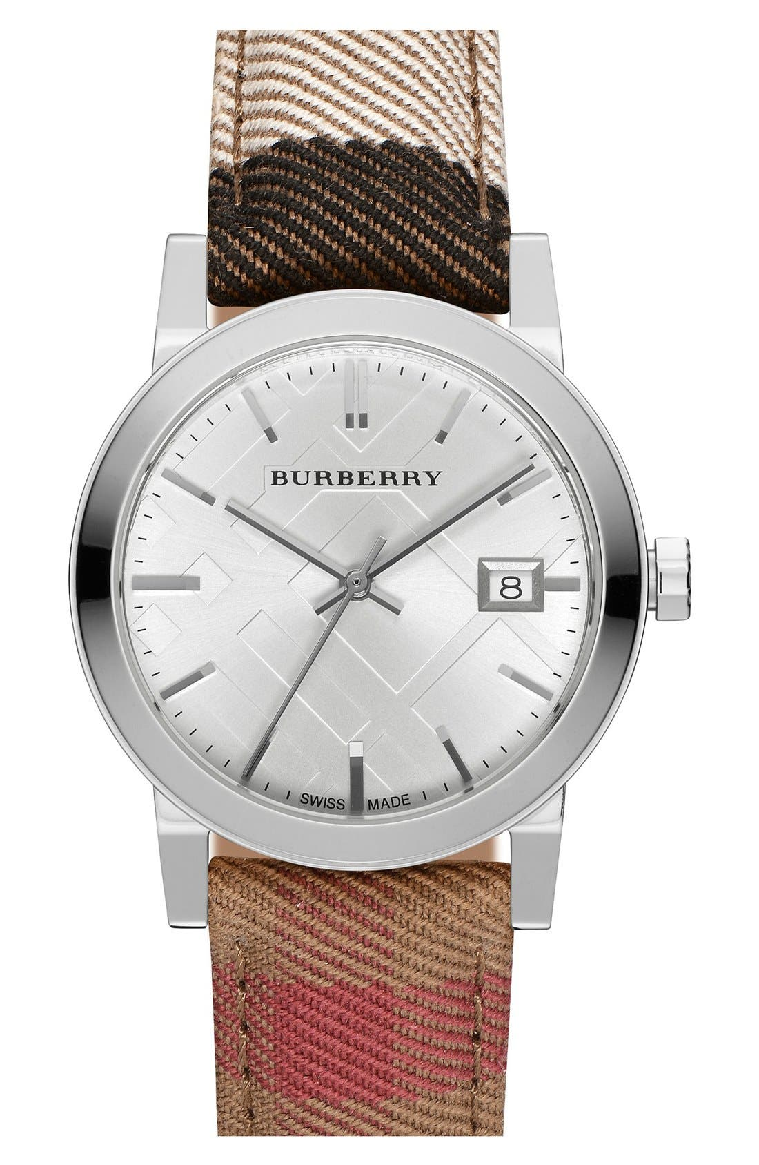Alternate Image 1 Selected - Burberry 'The City' Woven Strap Watch, 34mm