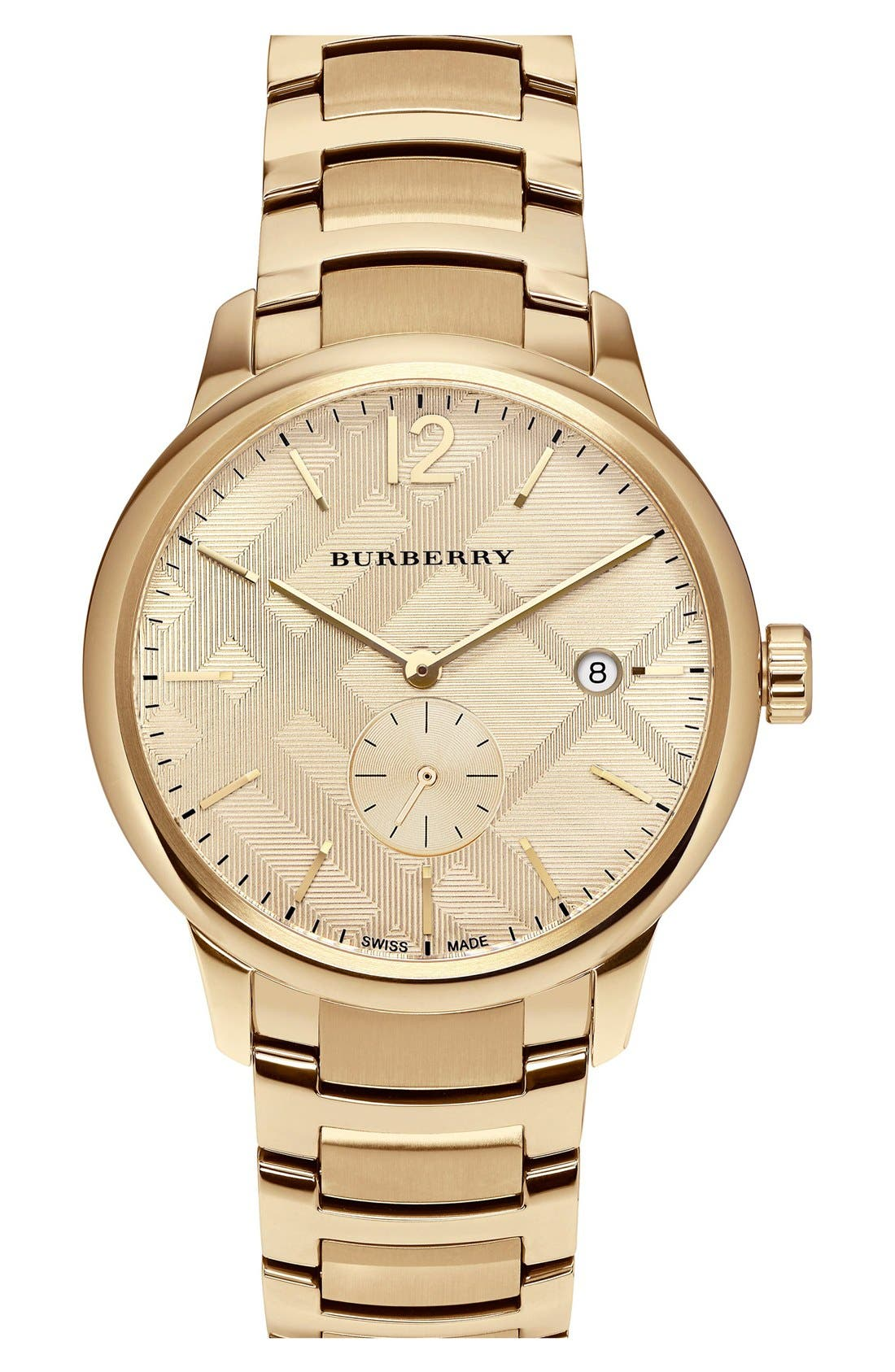 Alternate Image 1 Selected - BurberryCheck Stamped Bracelet Watch,40mm