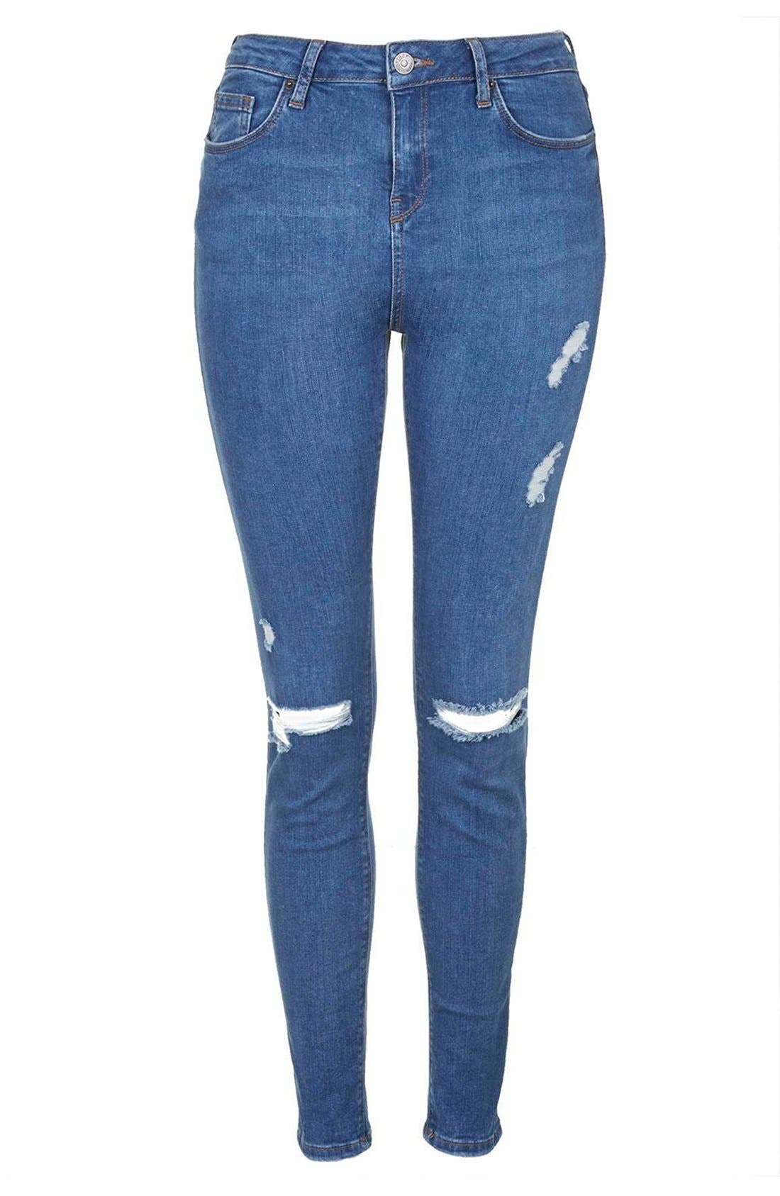 Alternate Image 4  - Topshop Moto 'Jamie' Ripped Skinny Jeans (Mid Denim) (Tall)