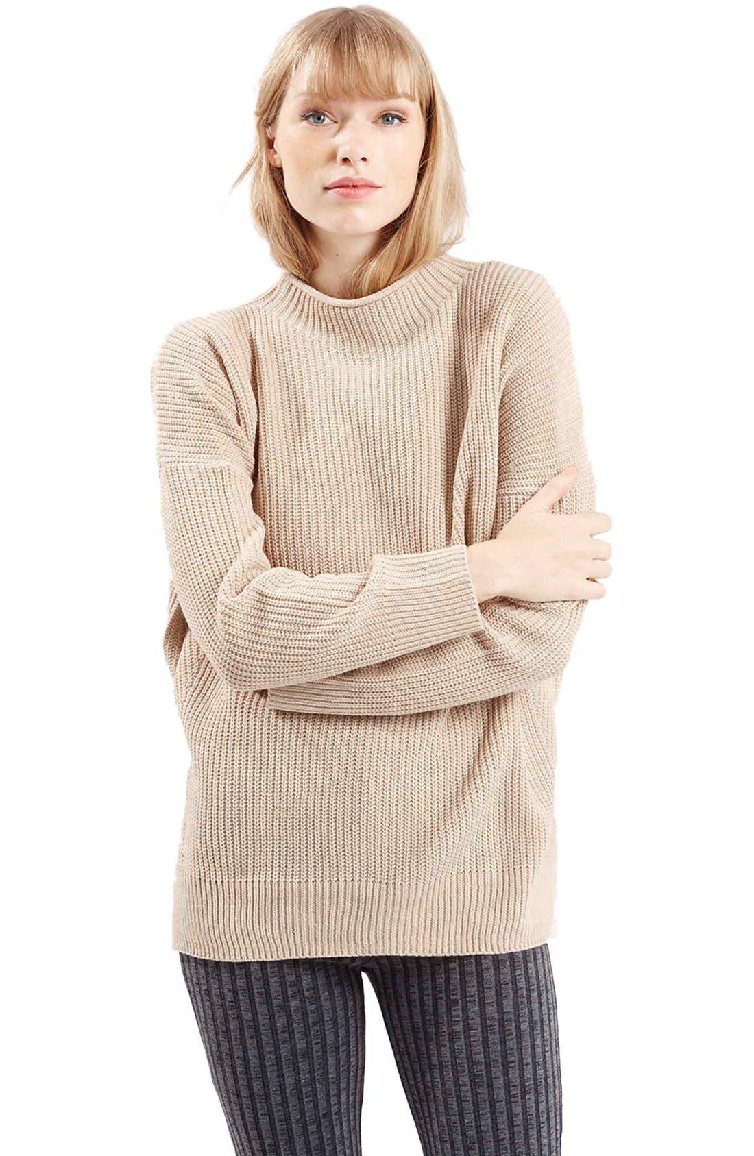 Main Image - TopshopFunnel NeckSide SlitSweater (Petite)