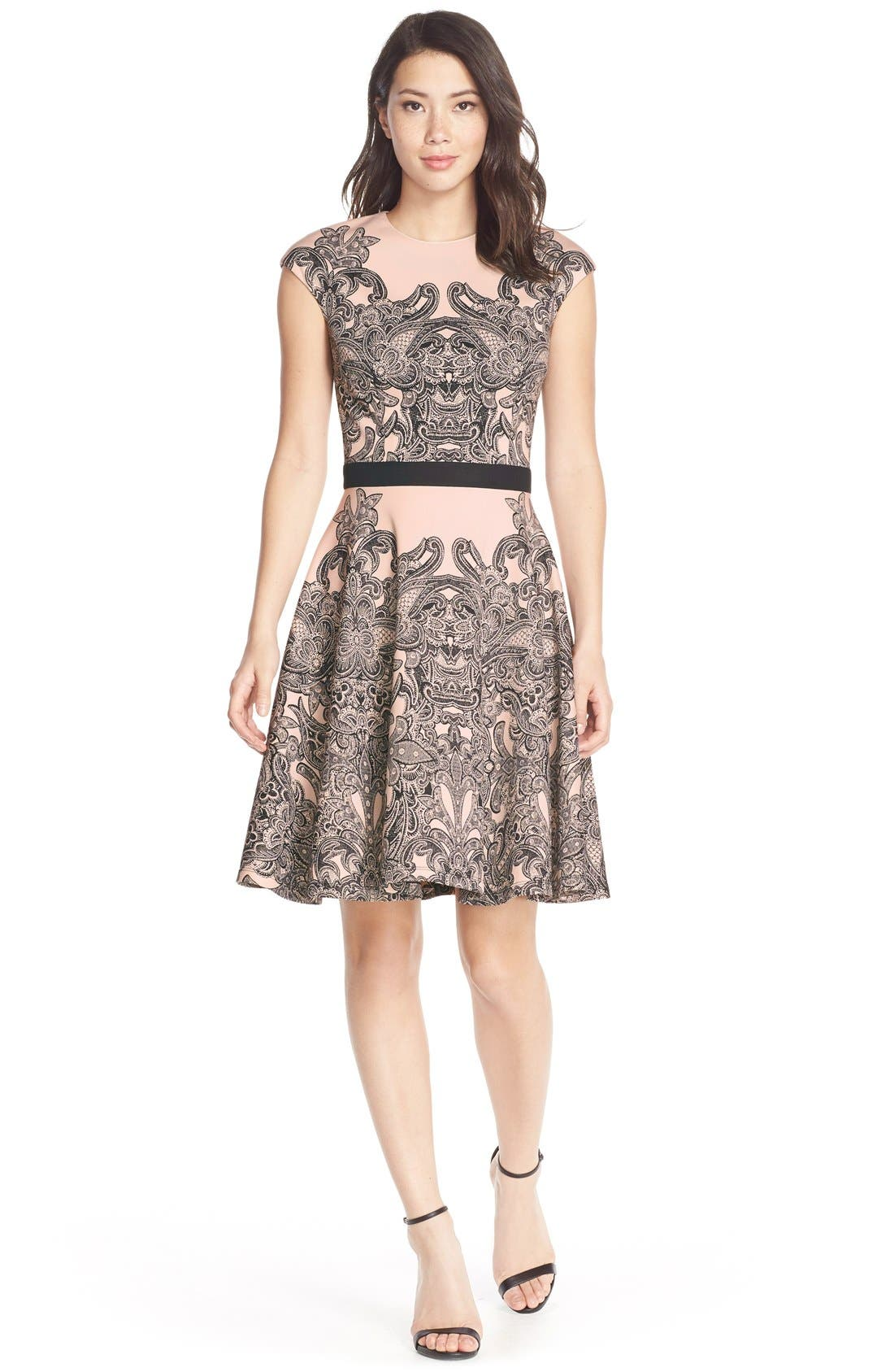 Alternate Image 3  - Maggy London Print Scuba Fit & Flare Dress (Regular & Petite)