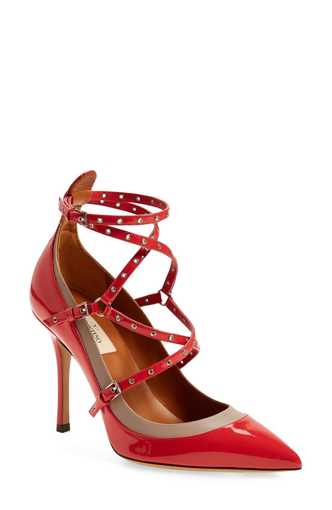 Alternate Image 1 Selected - Valentino 'Love Latch' Strappy Grommet Pump (Women)