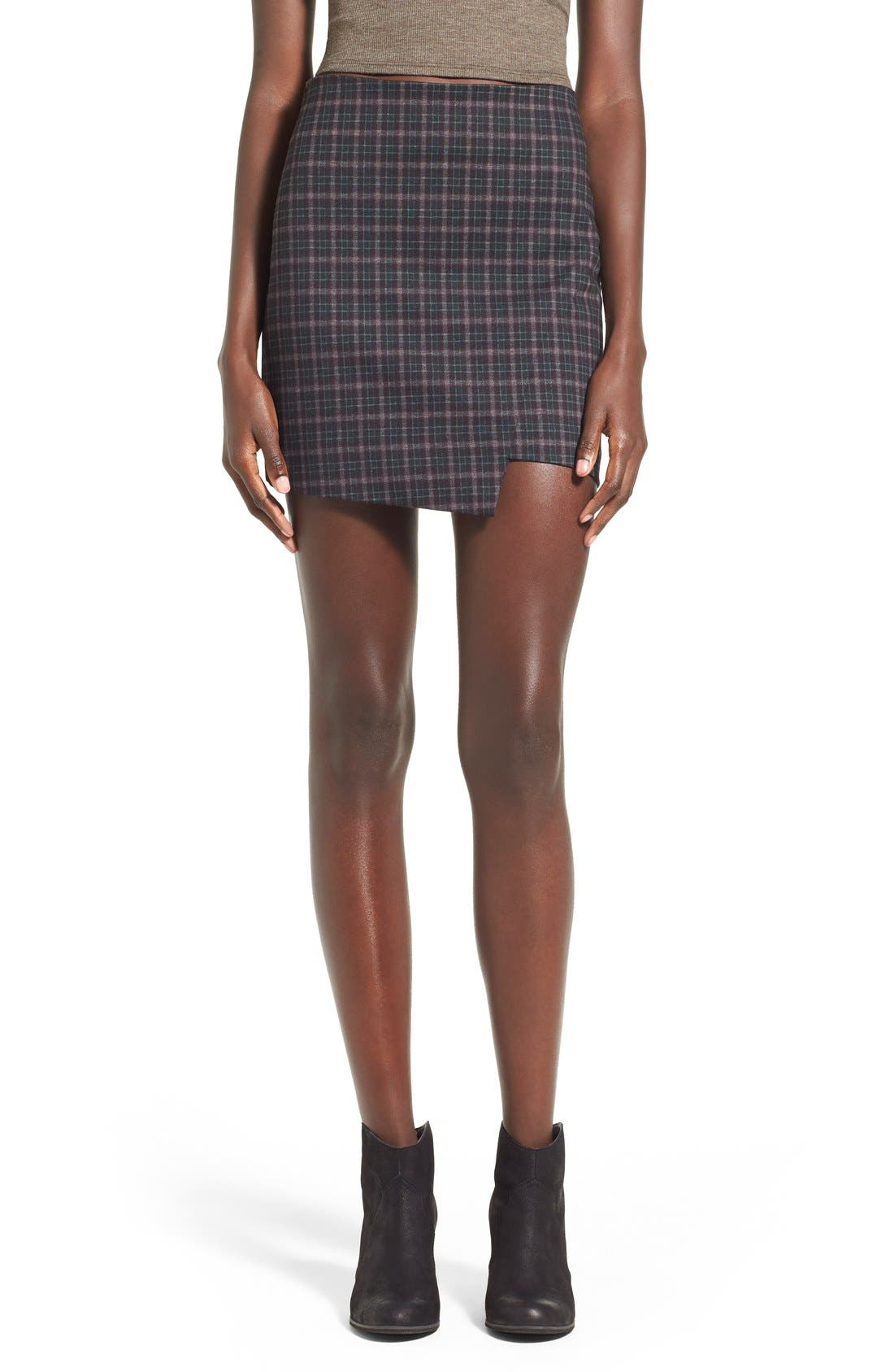 Main Image - Fire Asymmetrical Hem Plaid Skirt
