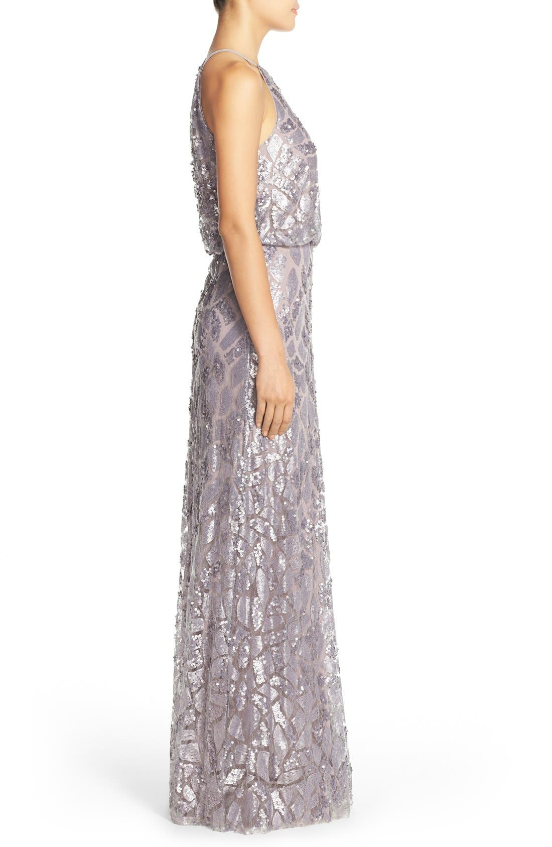 Alternate Image 3  - Donna Morgan 'Tiffany' Sequin Halter-Style Blouson Gown
