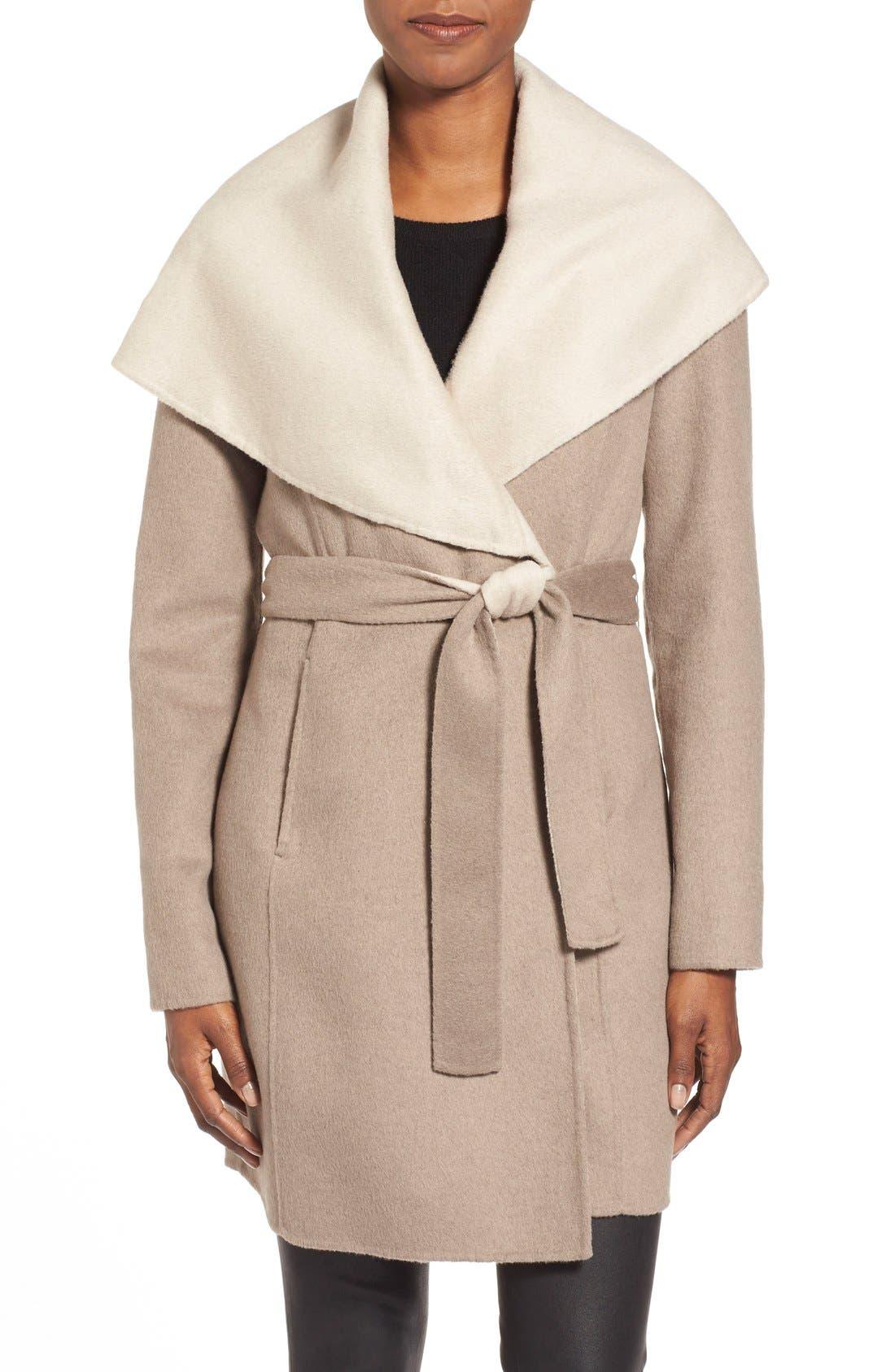 Main Image - ElieTahari'Mala' Hooded Wool BlendWrap Coat