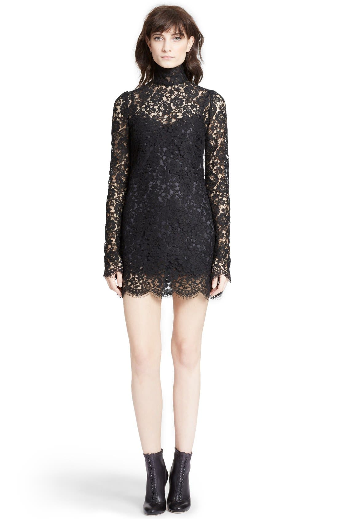 Alternate Image 1 Selected - Dolce&Gabbana Stand Collar Lace Minidress