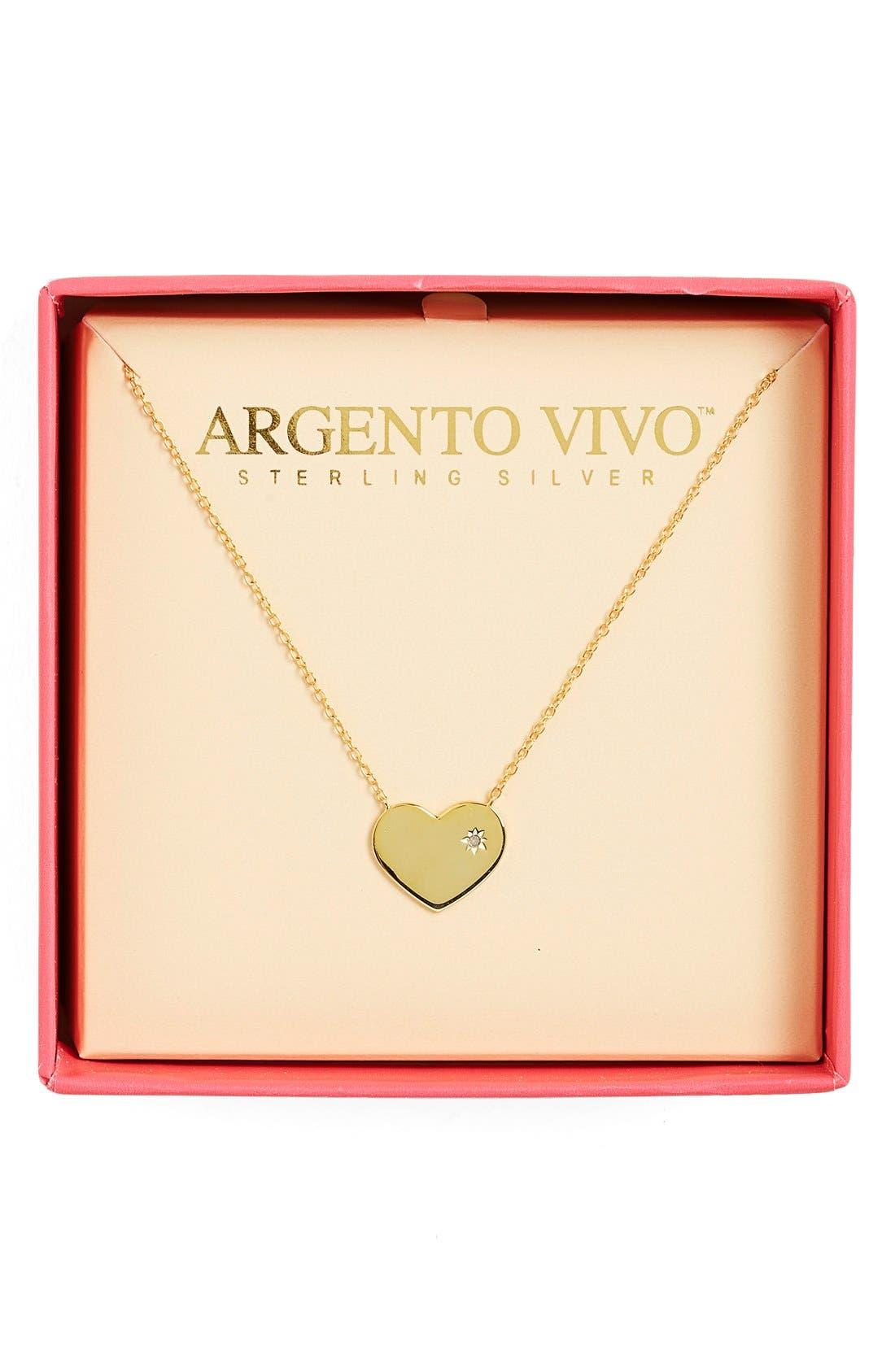 Alternate Image 3  - Argento Vivo Diamond Accent Heart Necklace