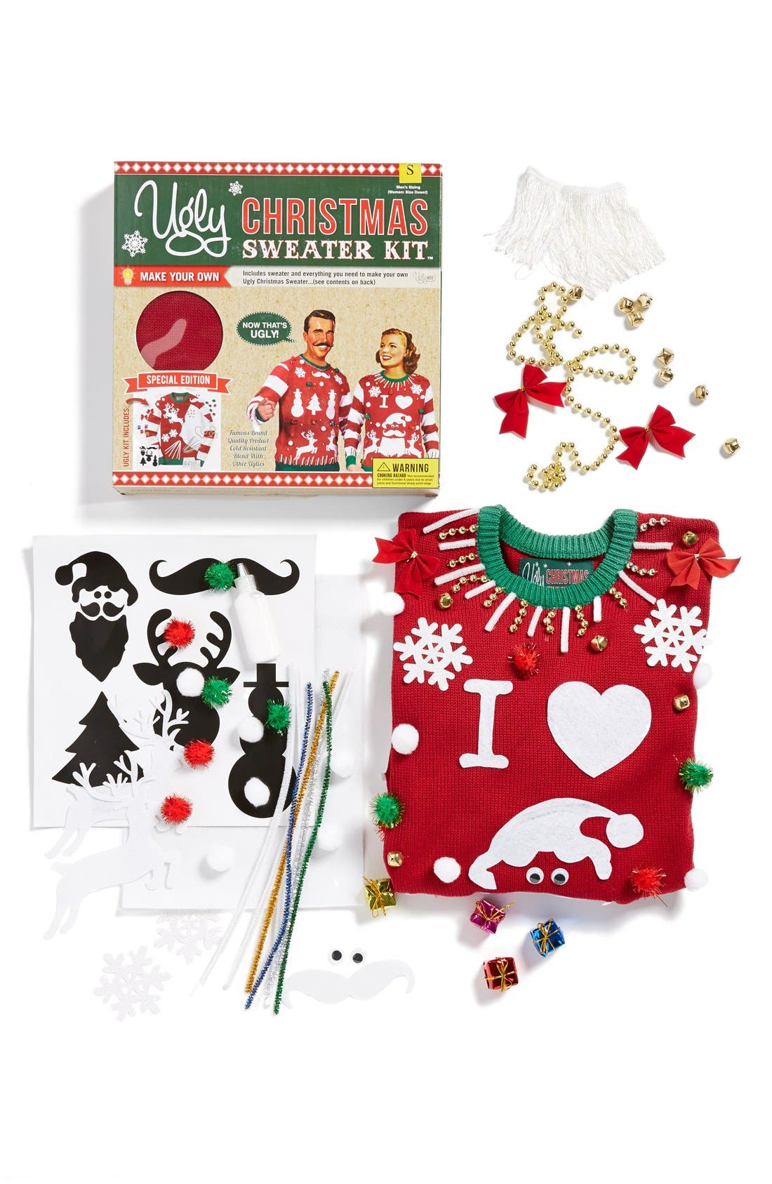 Alternate Image 2  - Ugly Christmas Sweater 'Make Your Own - Red Stripe' Sweater Kit
