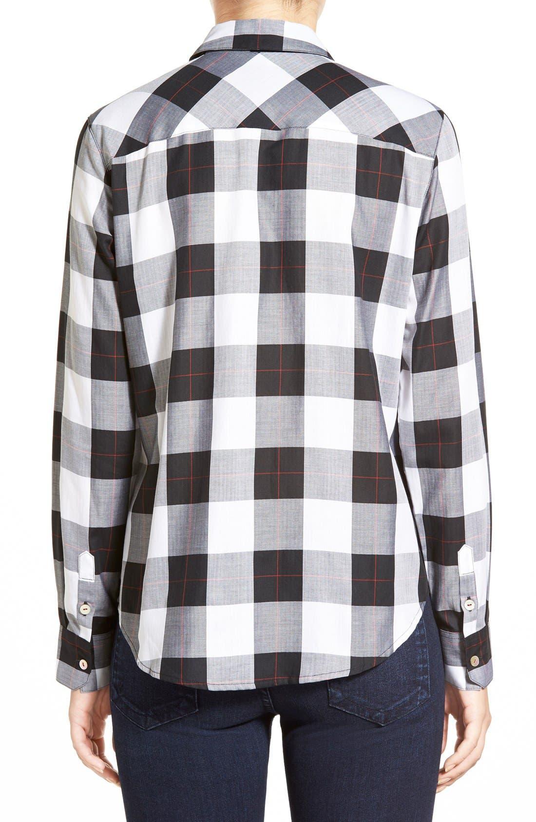 Alternate Image 2  - Foxcroft Herringbone Buffalo Check Shirt (Regular & Petite)