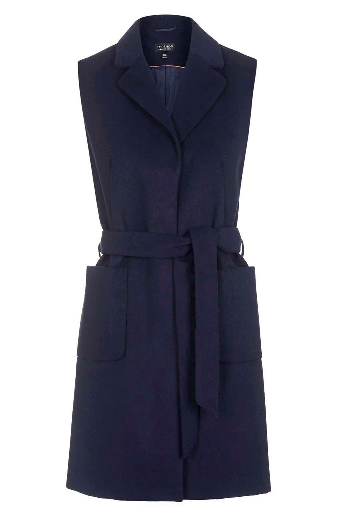 Alternate Image 3  - Topshop Sleeveless Belted Coat (Petite)