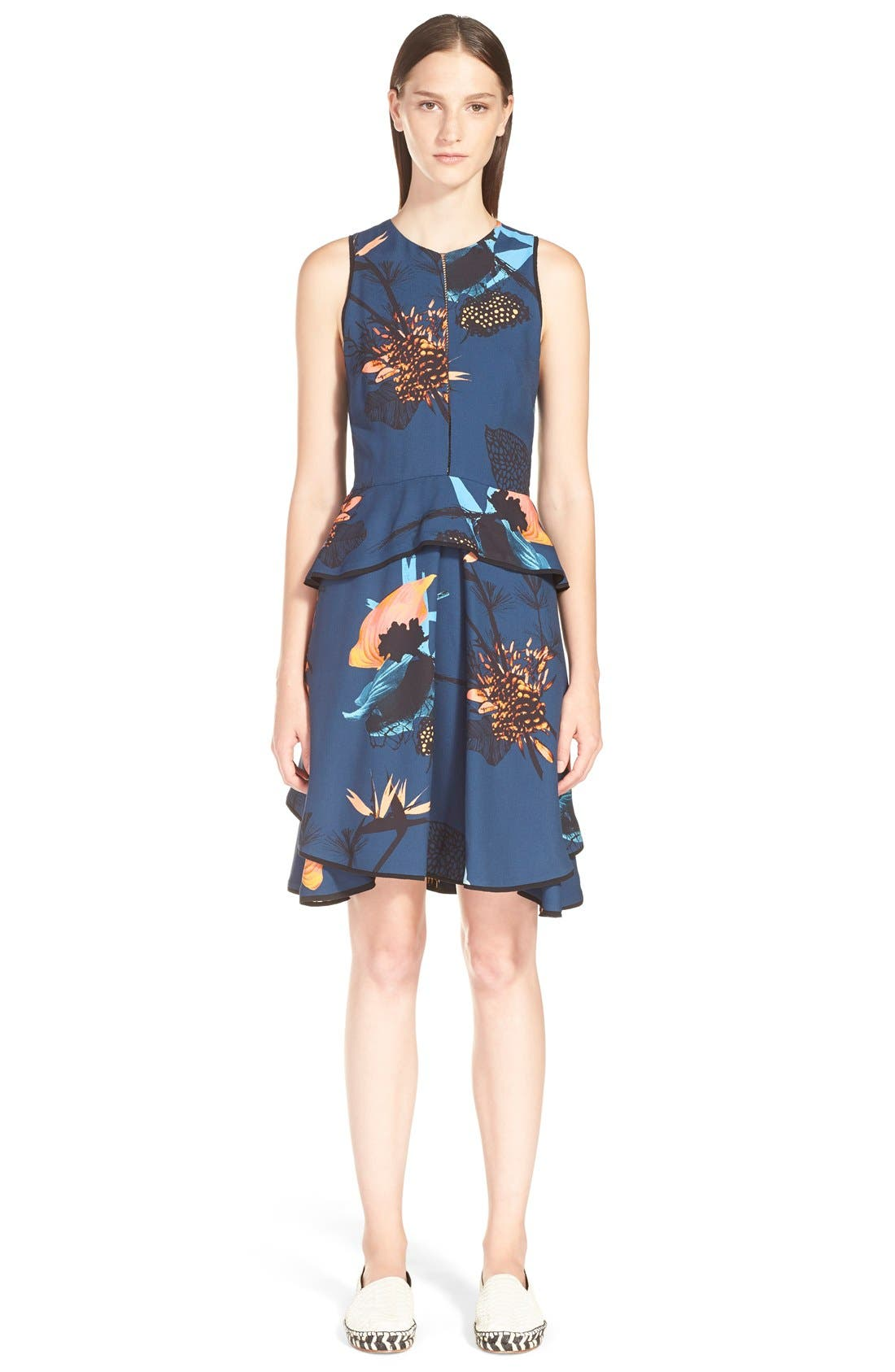 Alternate Image 1 Selected - ProenzaSchoulerTropical Print Sleeveless Ruffle Dress