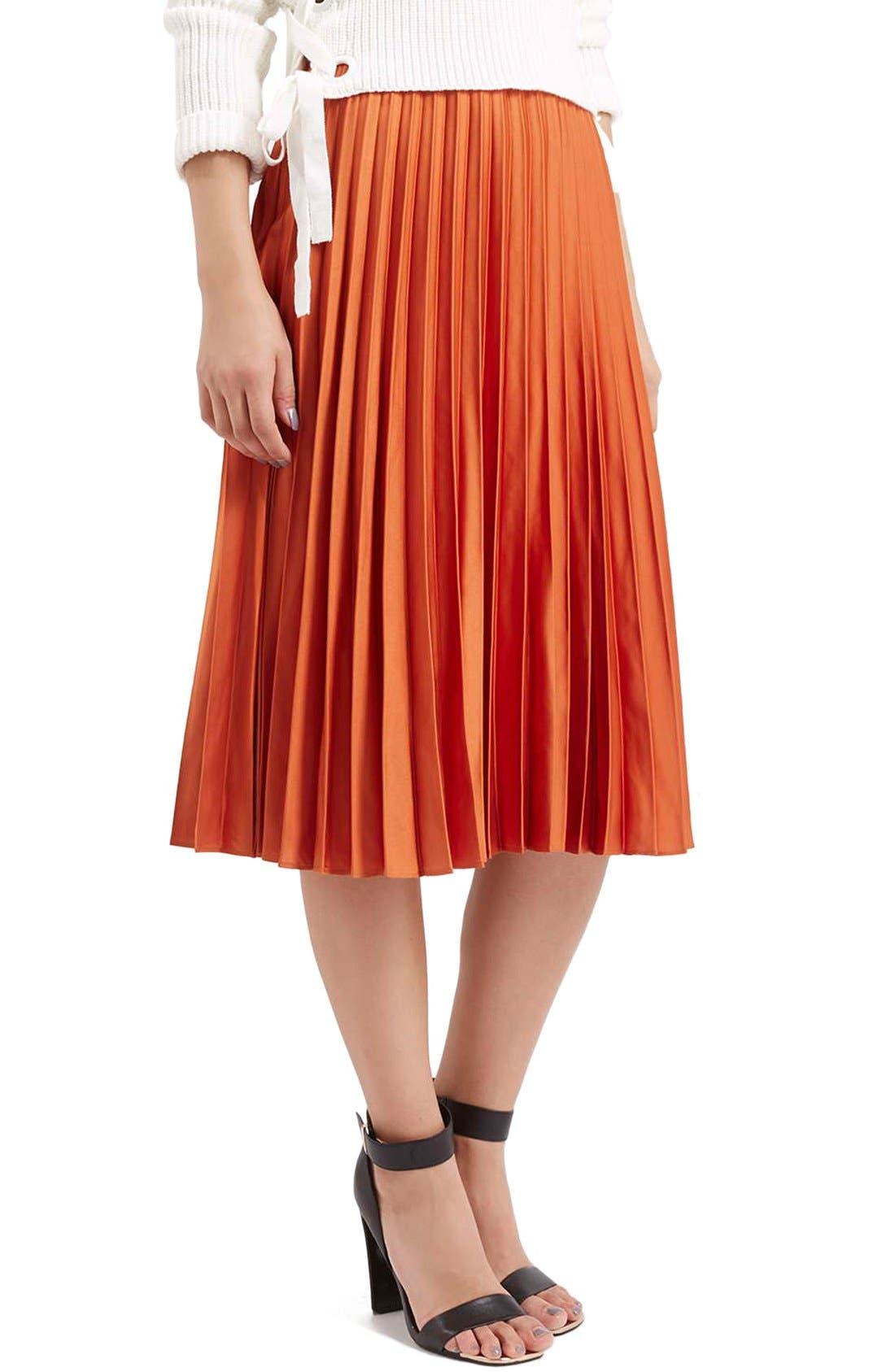 Main Image - Topshop Pleated Satin Midi Skirt (Petite)