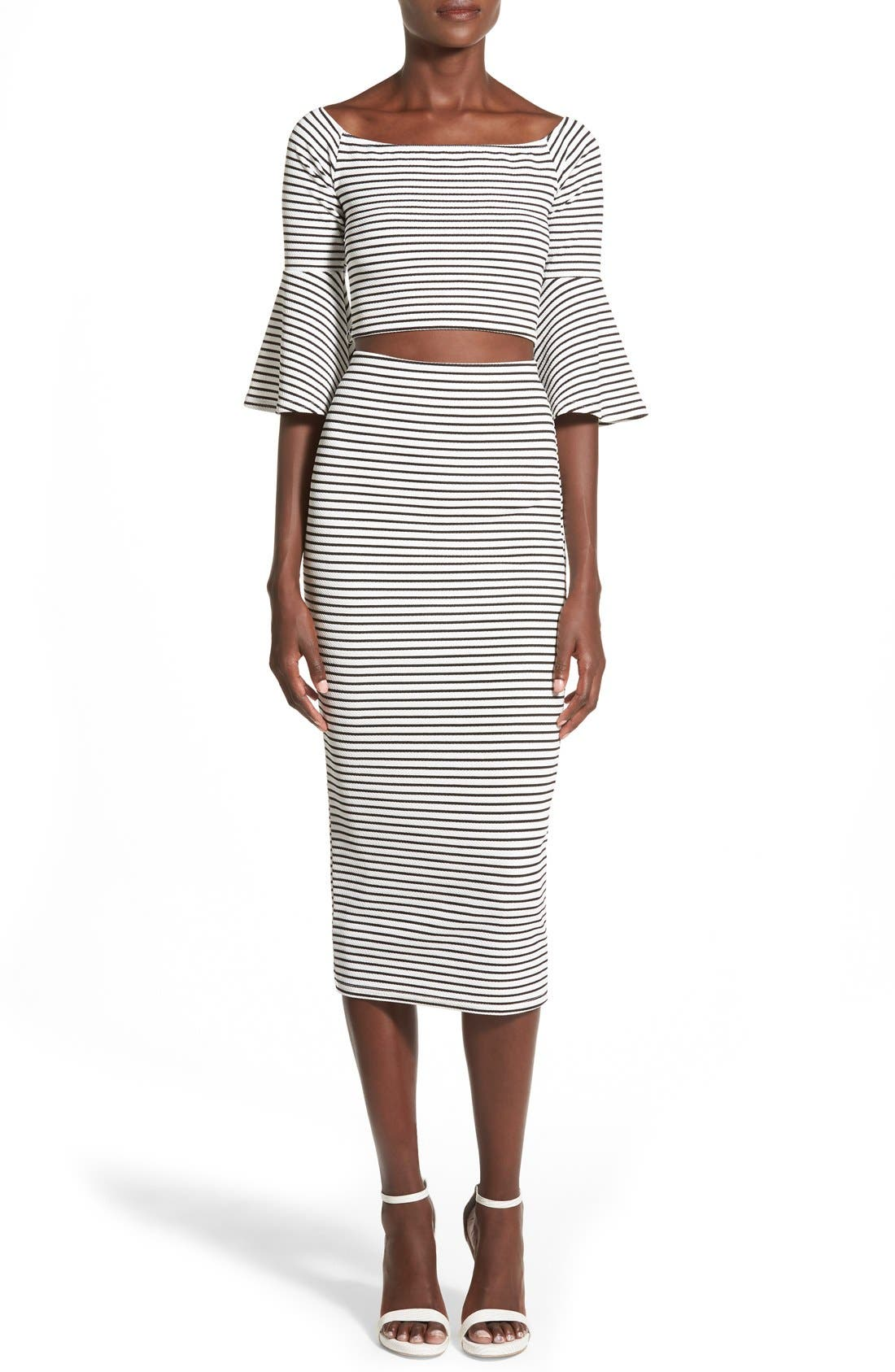 Alternate Image 2  - Missguided Stripe Longline Midi Skirt