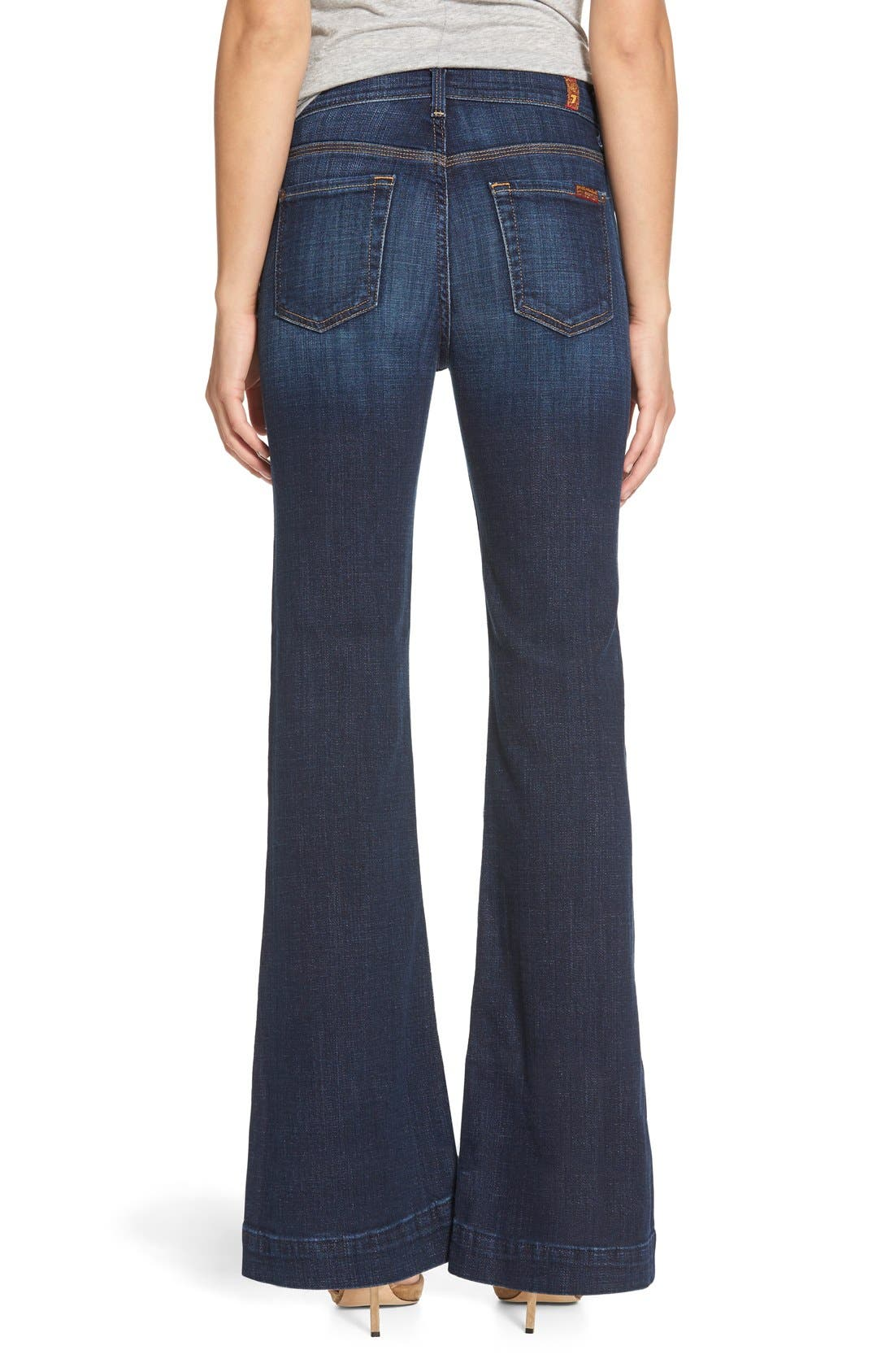 Alternate Image 2  - 7 For All Mankind® 'Tailorless Ginger' High Rise Flare Jeans (Royal Broken Twill) (Short)