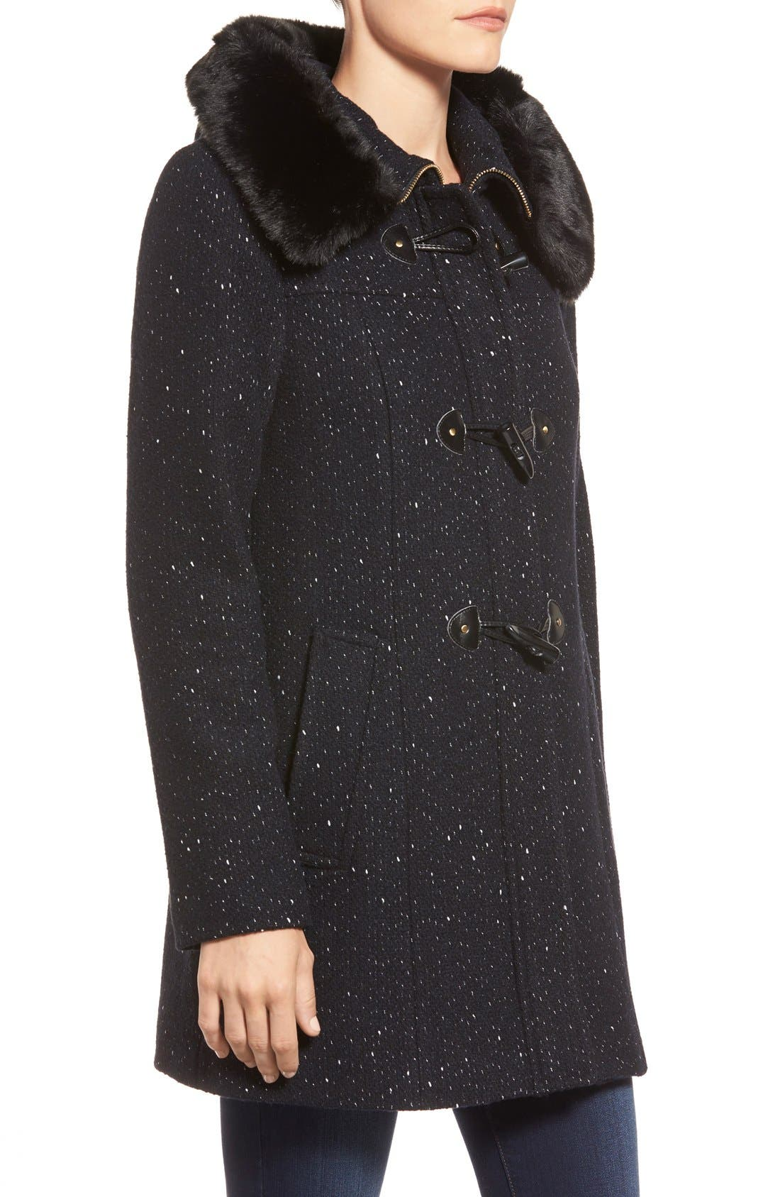 Alternate Image 3  - Ellen Tracy Toggle Front Tweed Coat with Faux Fur Trim