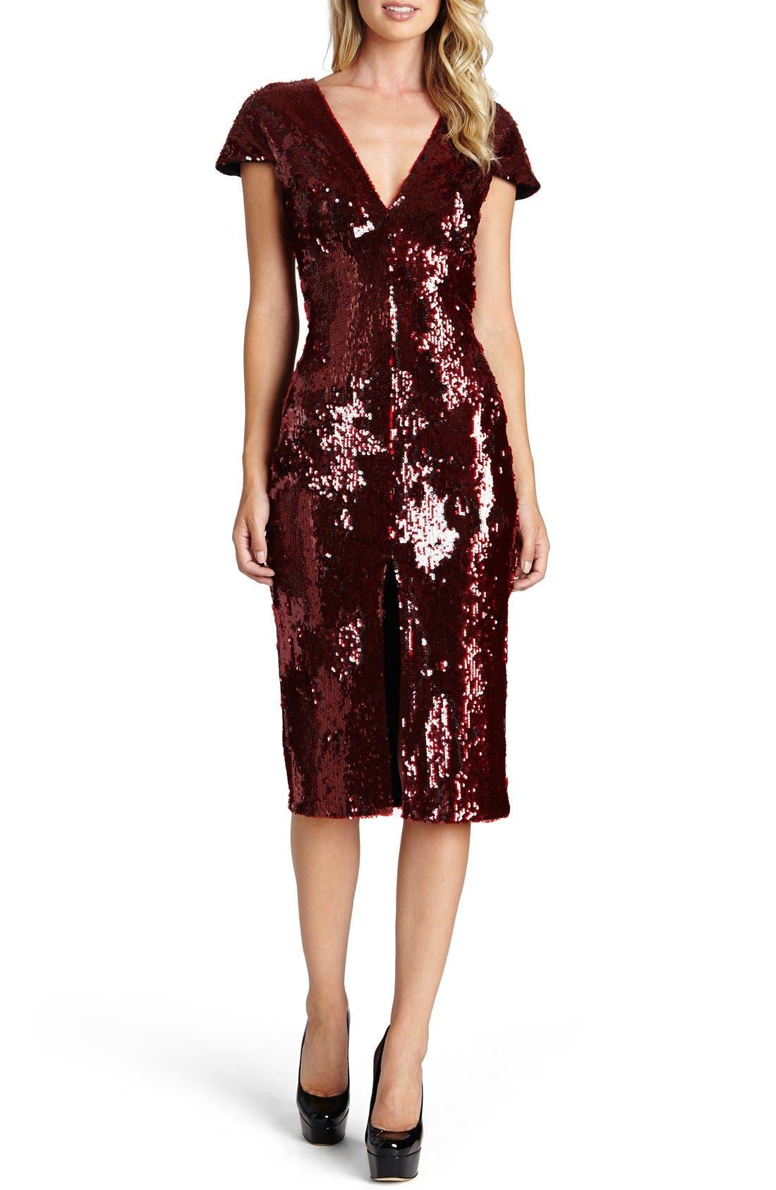 Alternate Image 1 Selected - Dress the Population Elizabeth Sequin Midi Dress