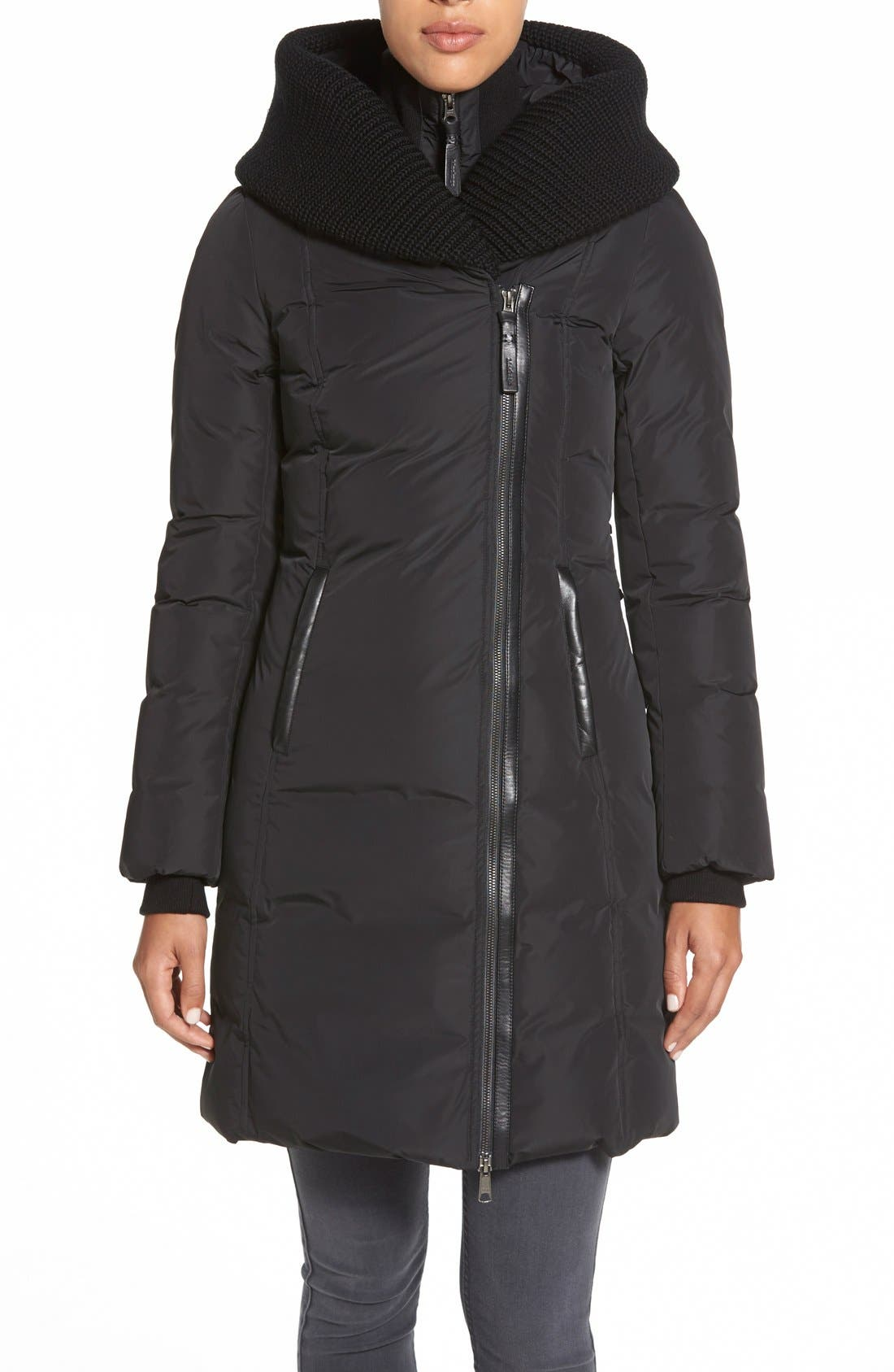 Main Image - Mackage Knit Trim Hooded Asymmetrical Zip Long Down Coat