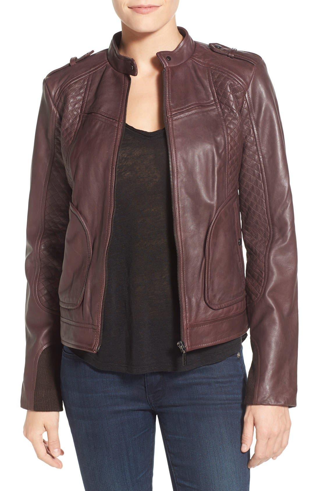Alternate Image 1 Selected - Bernardo Quilted Leather Moto Jacket with Side Zips